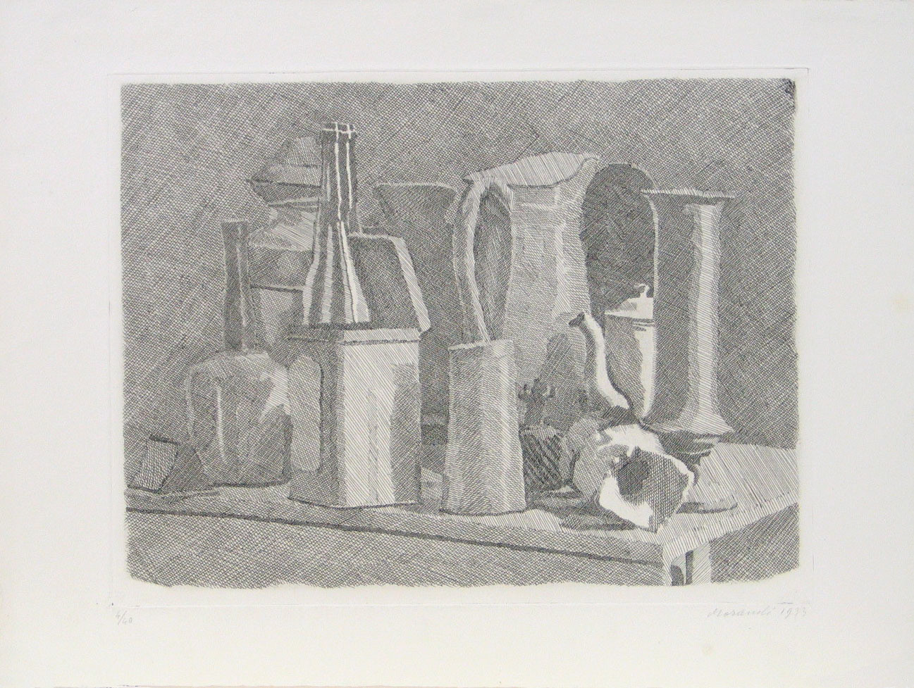 Giorgio Morandi. Grande natura morta con la caffettiera (Large Still Life with Coffeepot). 1933, half the edition printed 1943, the other half printed 1949