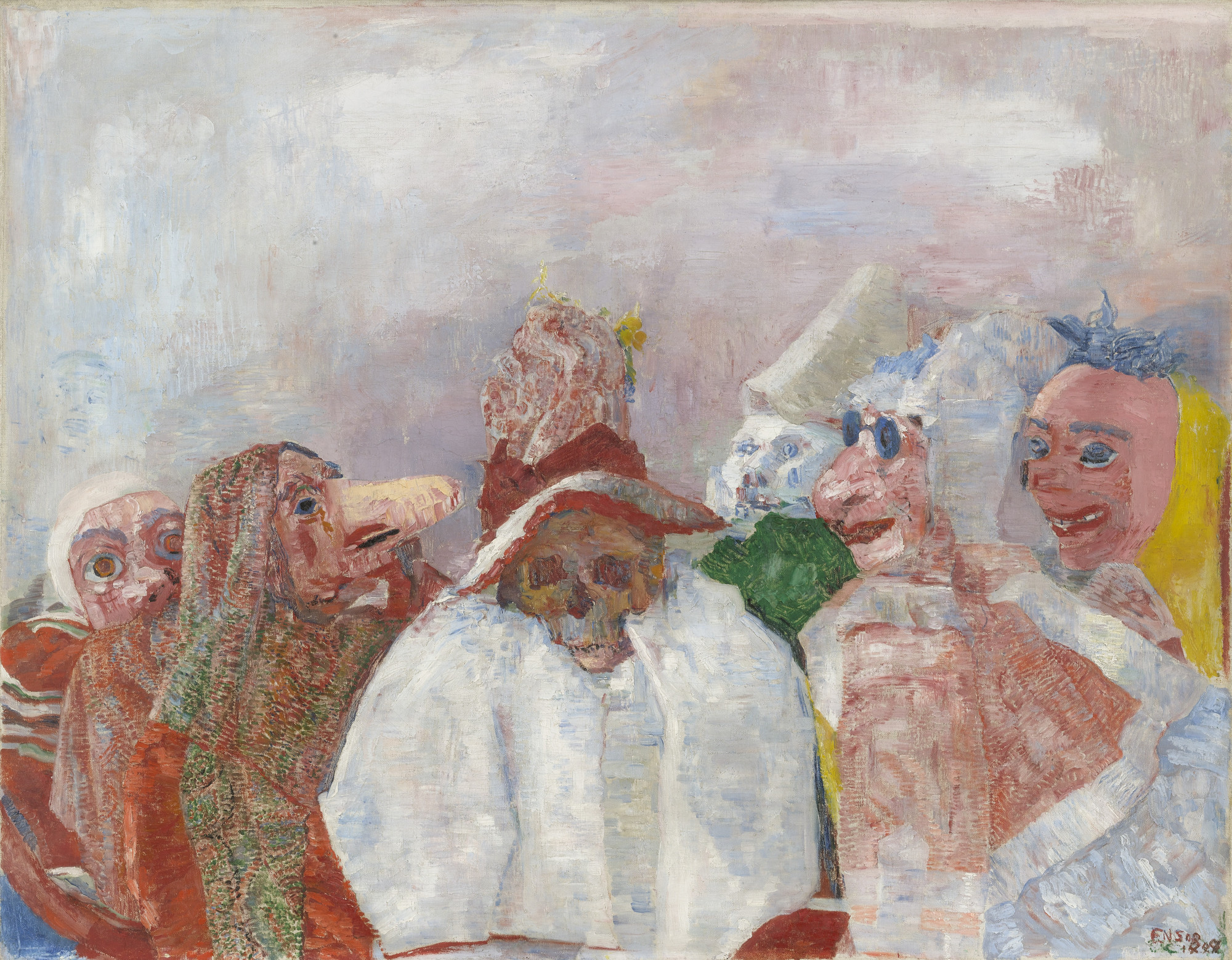 תוצאת תמונה עבור ‪James Ensor, Masks mocking death, 1888‬‏