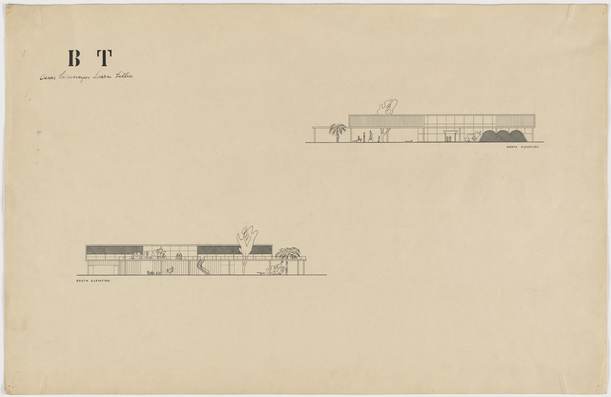 Oscar Niemeyer, Roberto Burle Marx. Beach House for Mr. and Mrs. Burton Tremaine, project, Santa Barbara, California (North and south elevations). 1948