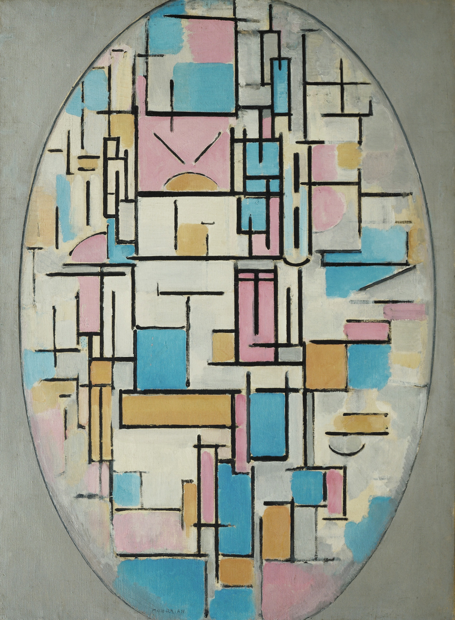 Piet Mondrian. Composition in Oval with Color Planes 1. 1914