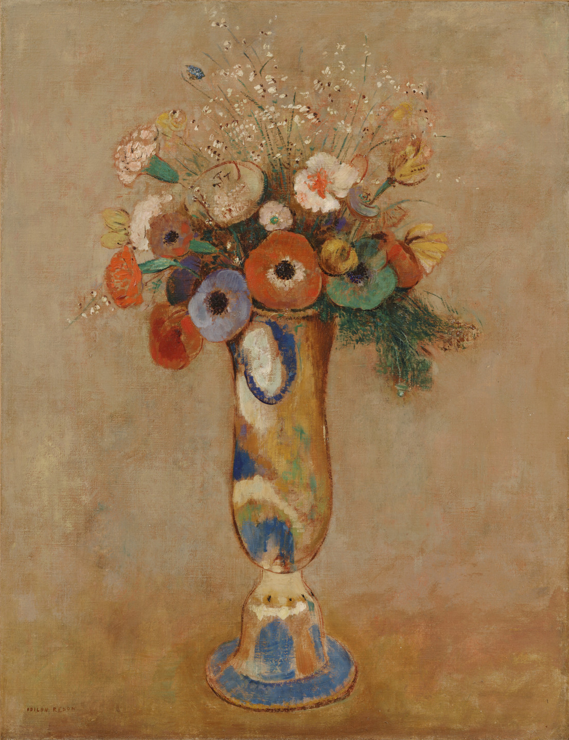 Odilon Redon. Wildflowers in a Long Neck Vase. c. 1912