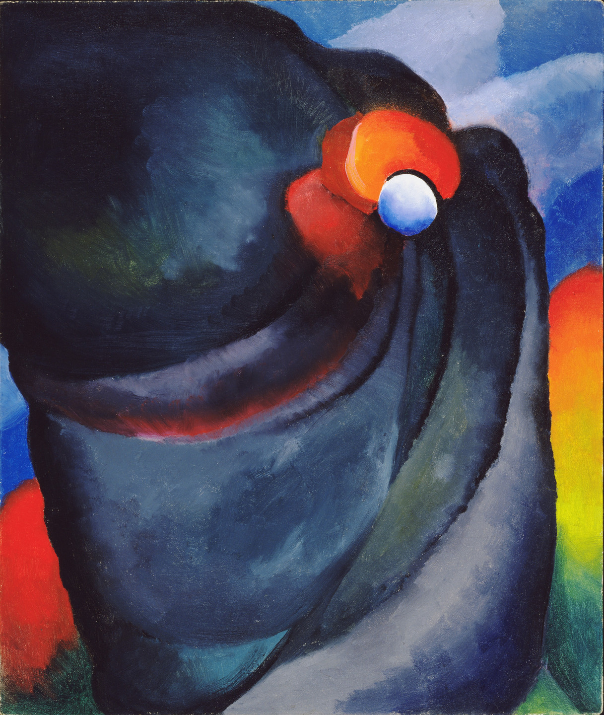 Georgia O'Keeffe. Lake George, Coat and Red. 1919