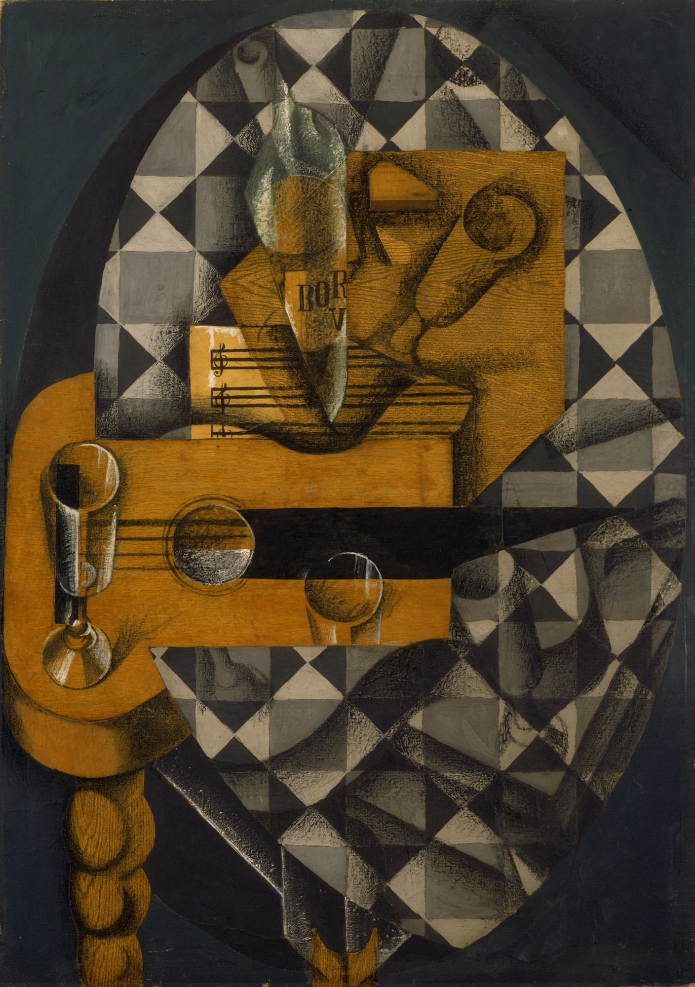 Juan Gris. Guitar and Glasses. 1914