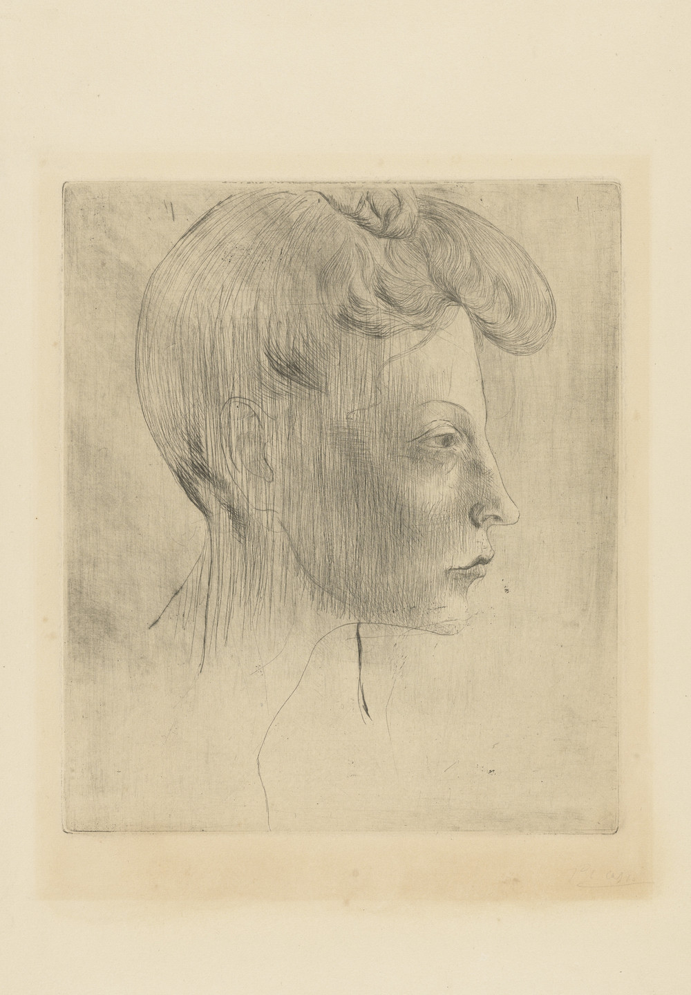 Pablo Picasso. Head of a Woman, in Profile (Tête de femme, de profil) from the Saltimbanques series. 1905