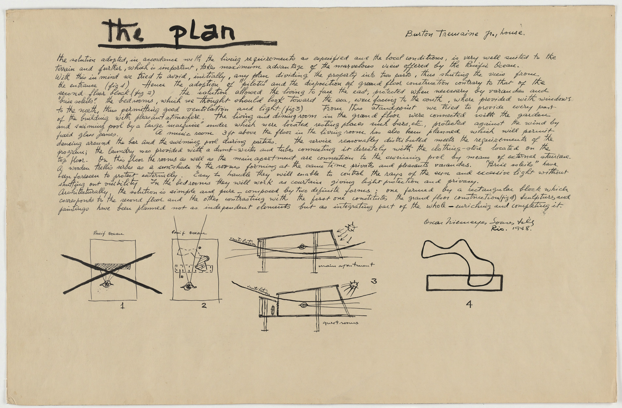 Oscar Niemeyer, Roberto Burle Marx. Beach House for Mr. and Mrs. Burton Tremaine, project, Santa Barbara, California (Preliminary sketches and introductory text). 1948