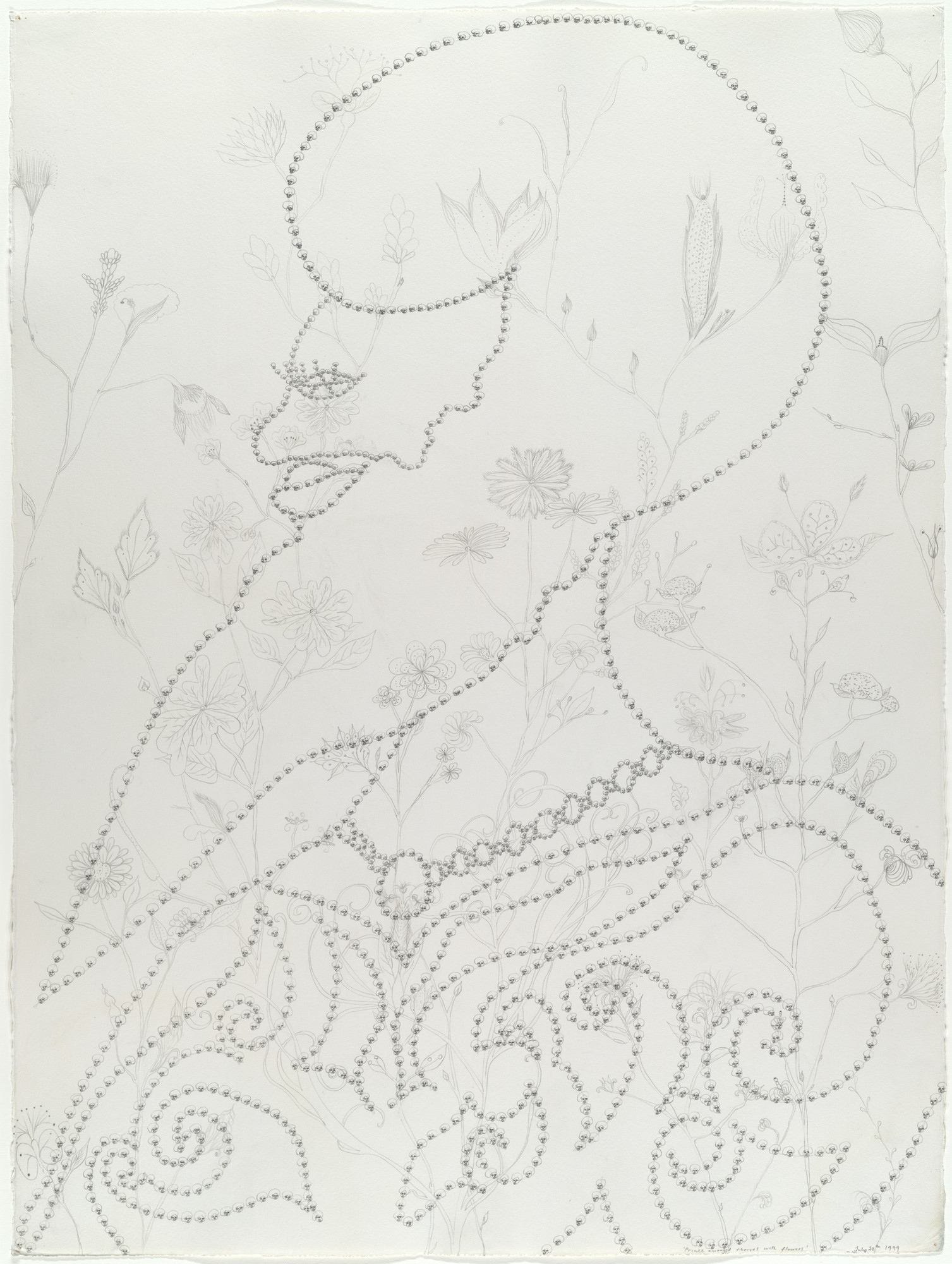 Chris Ofili. Prince Amongst Thieves with Flowers. 1999