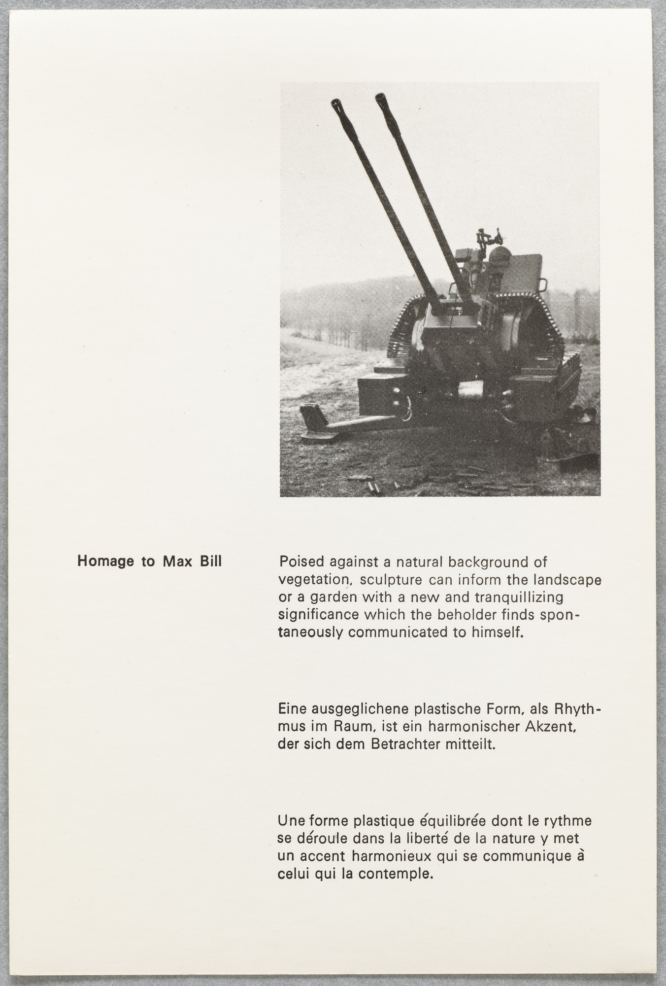 Ian Hamilton Finlay. Wild Hawthorn Weapons Series No. 2: Homage to Max Bill. 1974