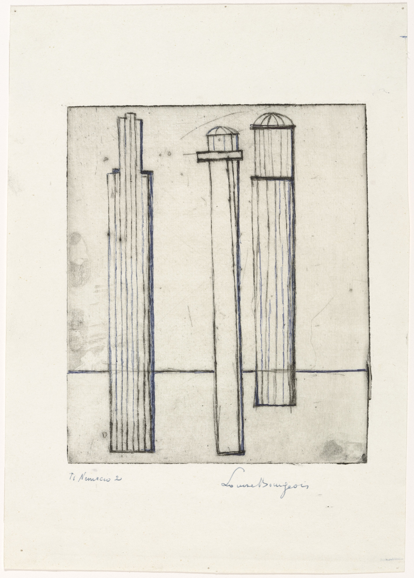 Louise Bourgeois. Plate 3 of 9, from the illustrated book, He Disappeared into Complete Silence. 1946-1947