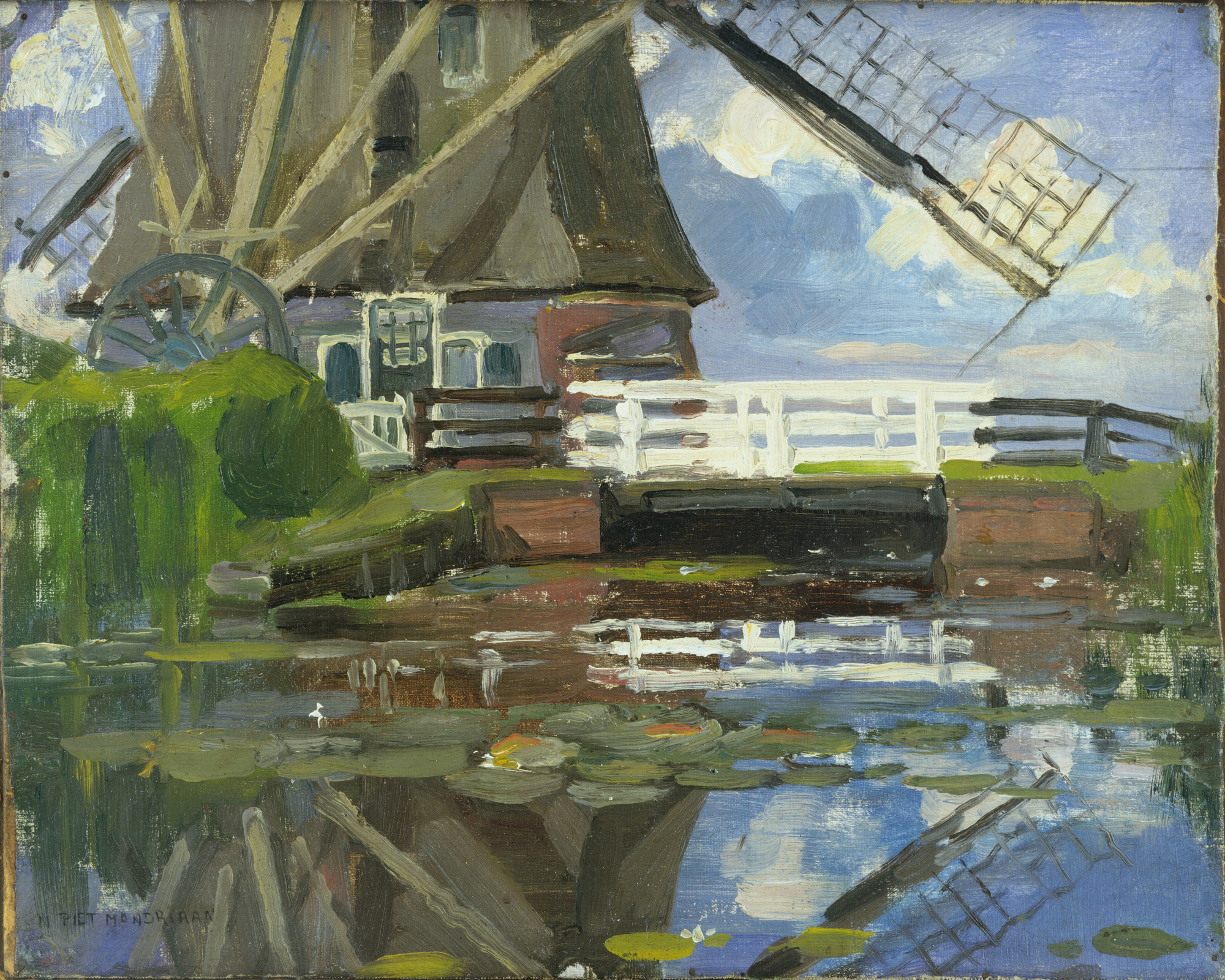 Piet Mondrian. Truncated View of the Broekzijder Mill on the Gein, Wings Facing West. c. 1902-03 or earlier
