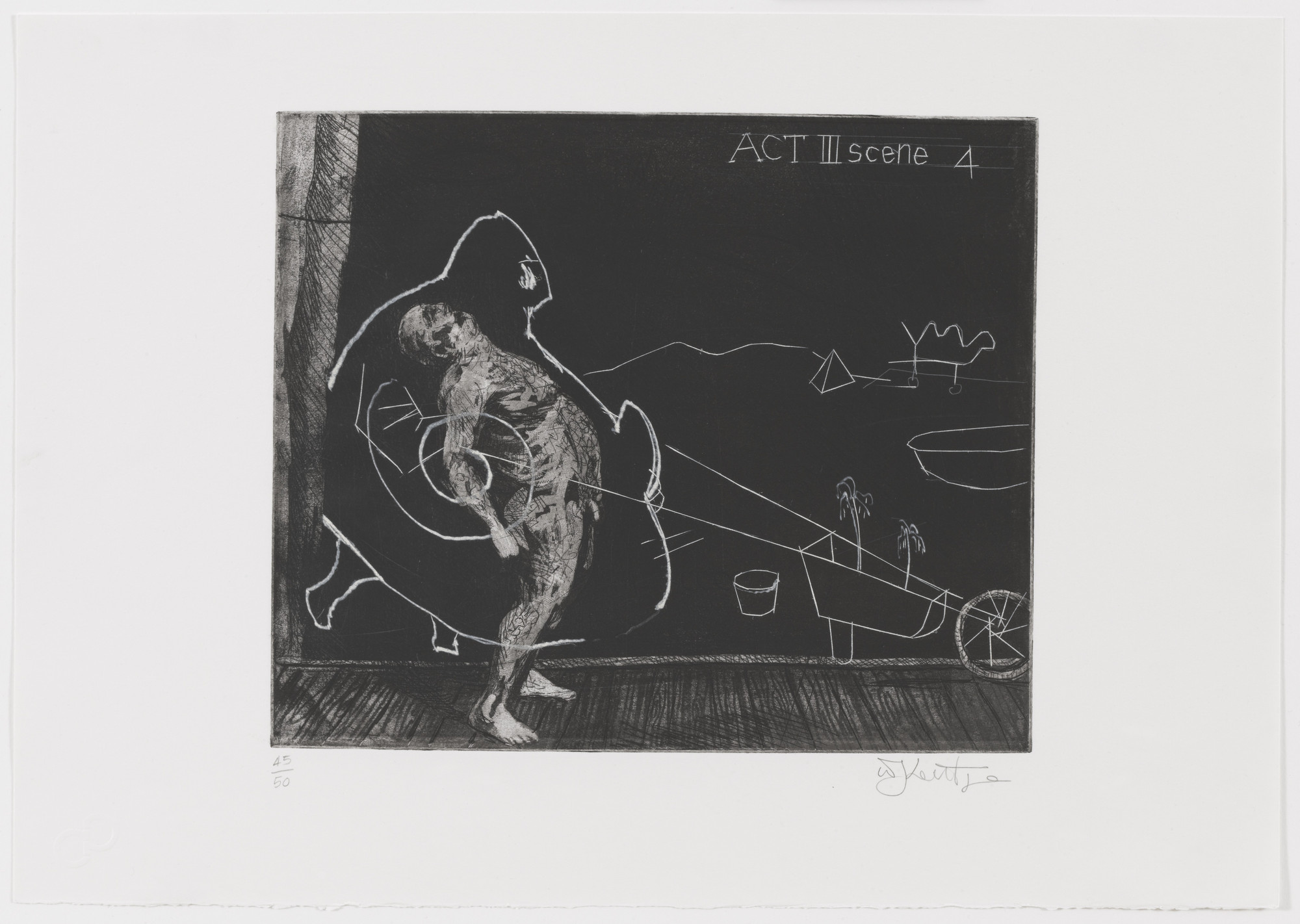 William Kentridge. Act III Scene 4 from Ubu Tells the Truth. 1996–97