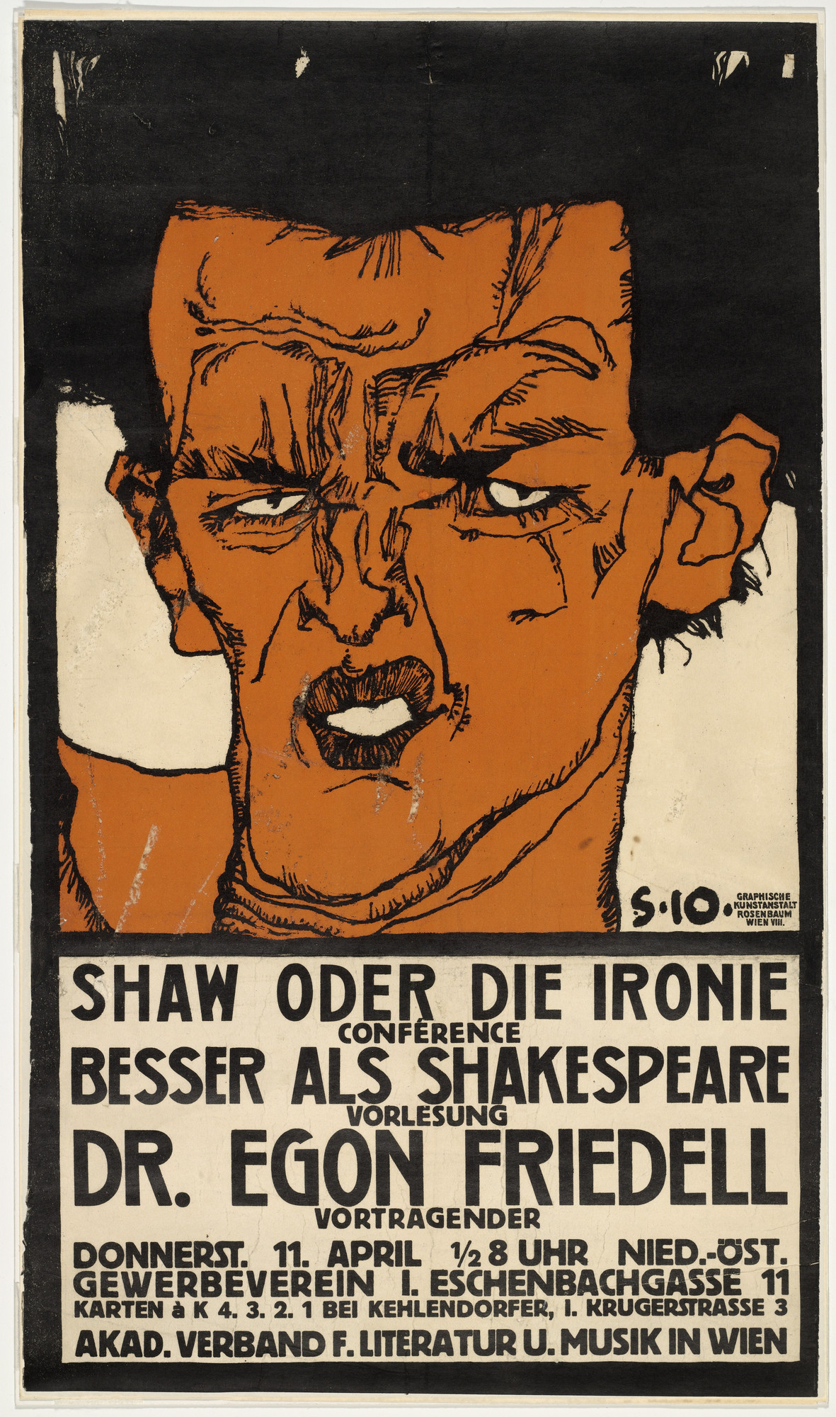 Egon Schiele. Shaw or the Irony (Shaw oder die Ironie), Poster for a Lecture by Egon Friedell. 1910 (published 1912)