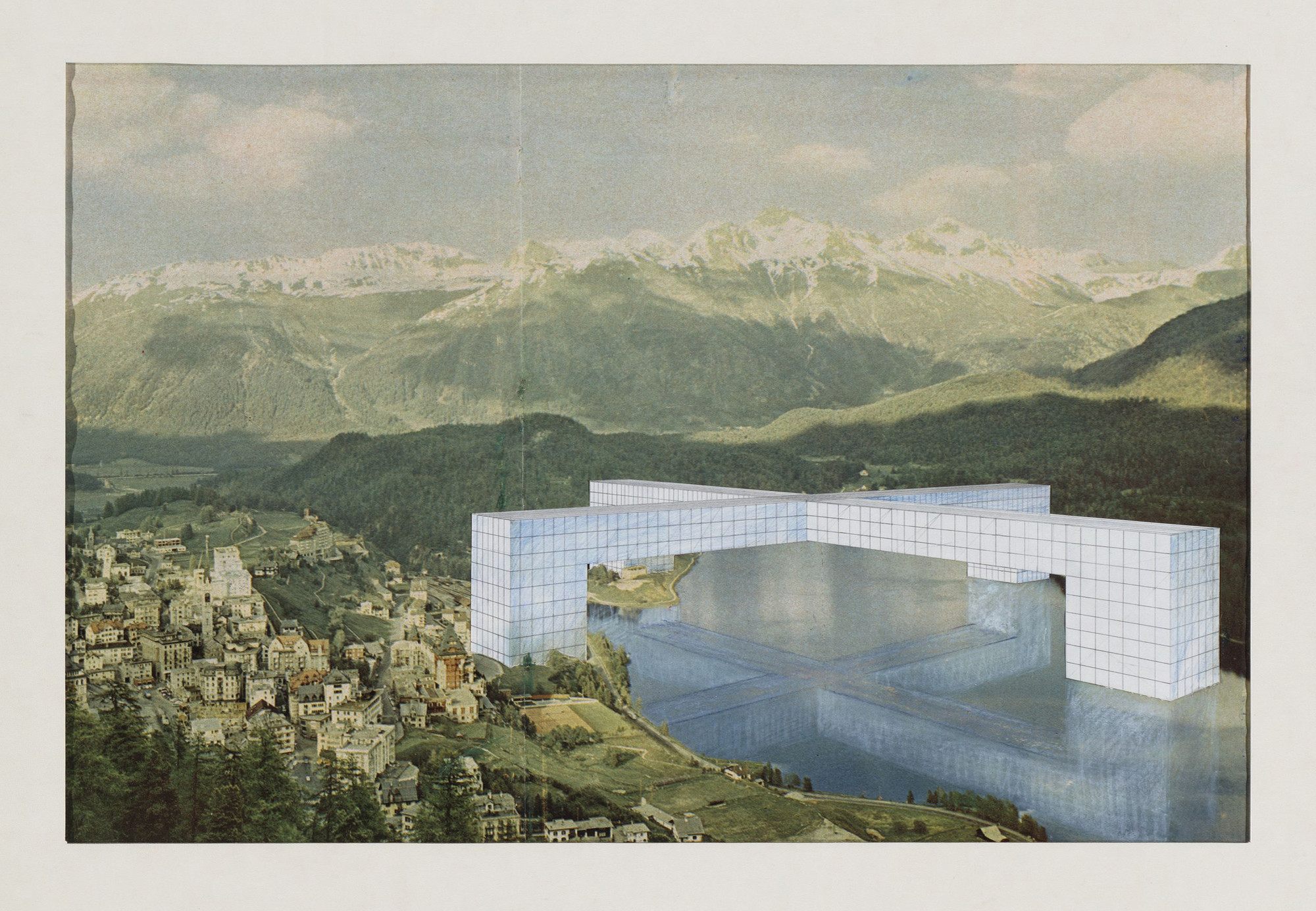 Superstudio, Gian Piero Frassinelli, Alessandro Magris, Roberto Magris, Adolfo Natalini, Cristiano Toraldo di Francia. The Continuous Monument: St. Moritz Revisited, project (Perspective). 1969