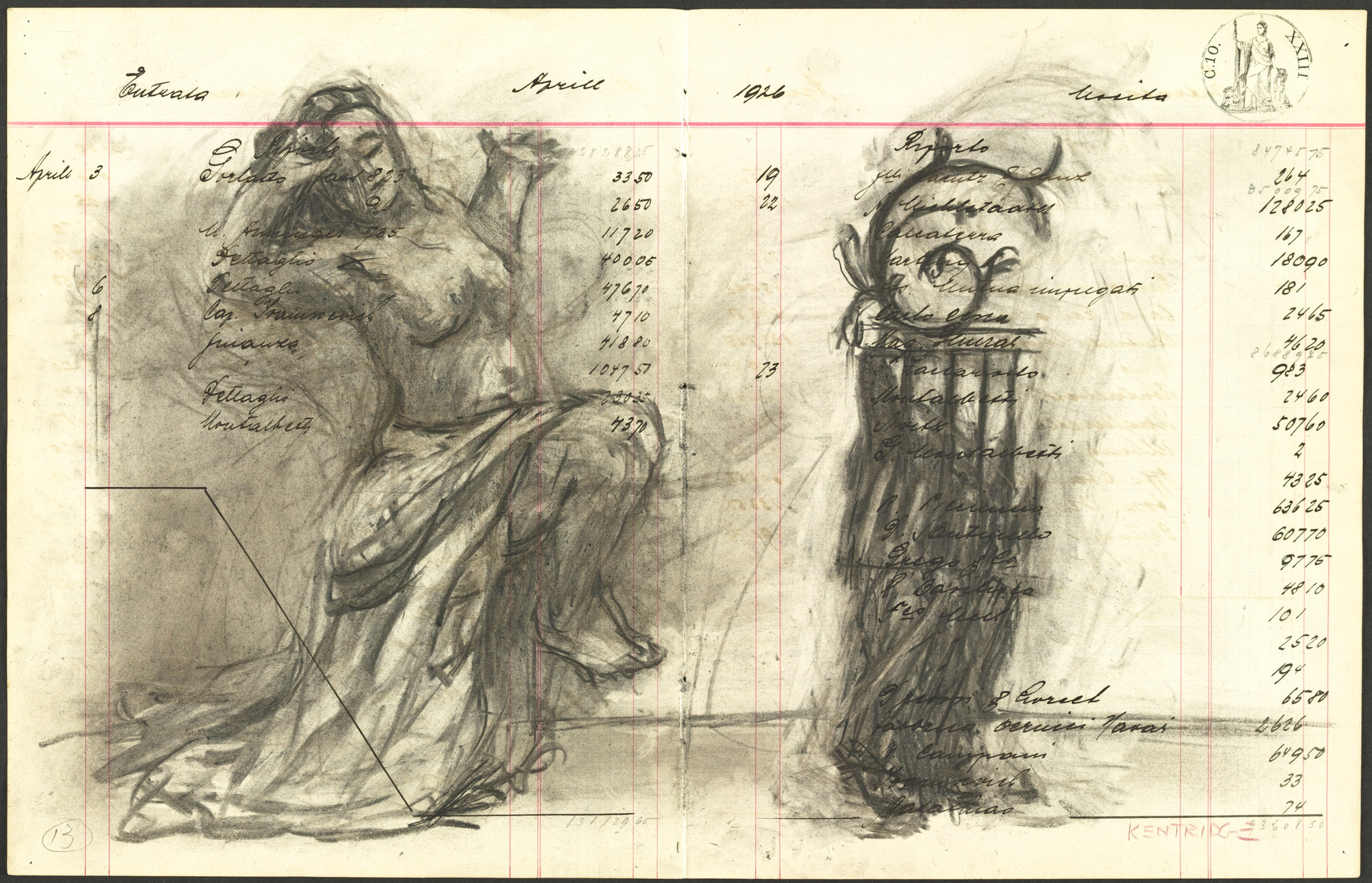 William Kentridge. Trieste Ledger Series. (2002)