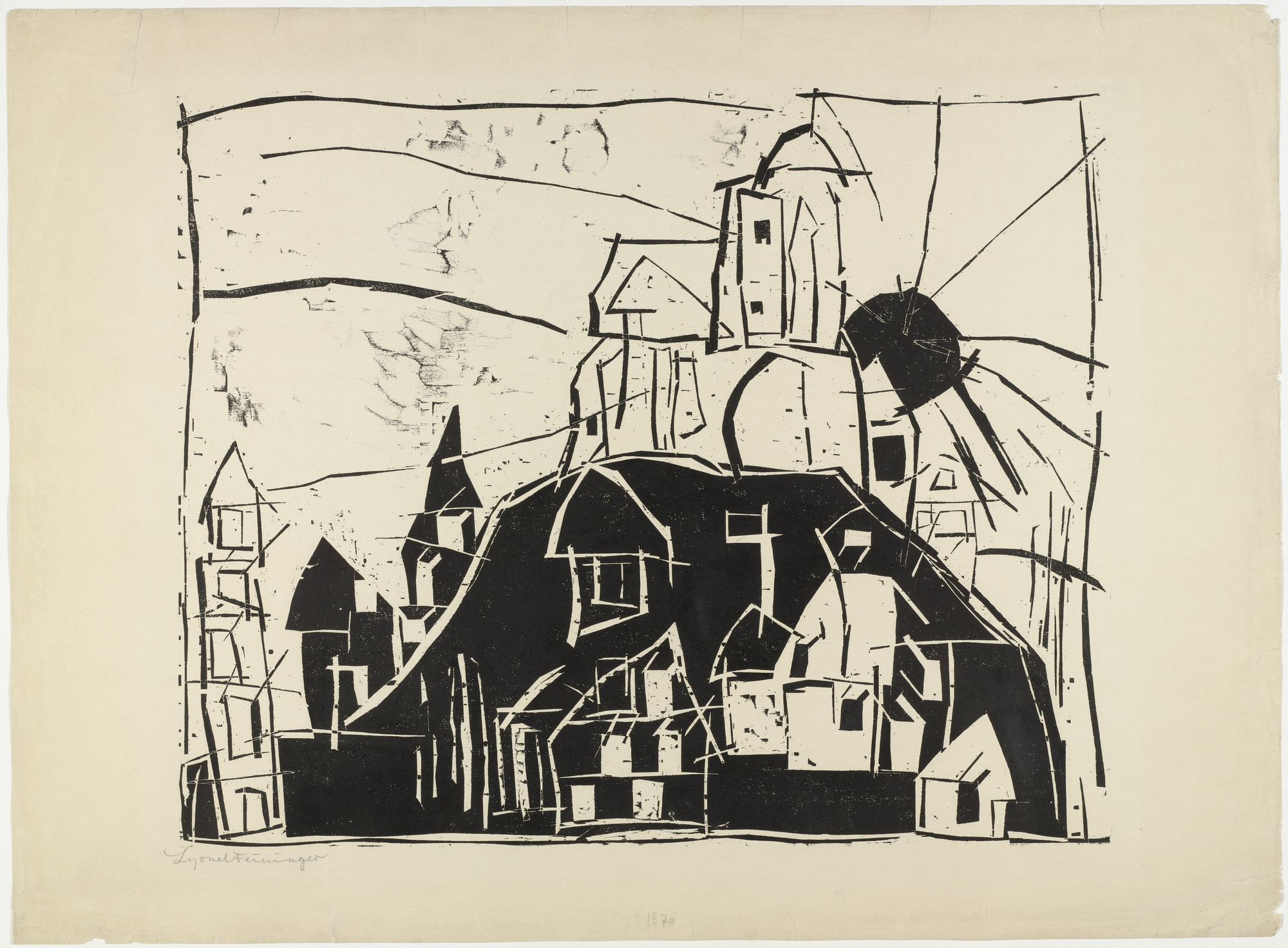 Lyonel Feininger. City on the Mountain (Stadt auf dem Berge). 1918