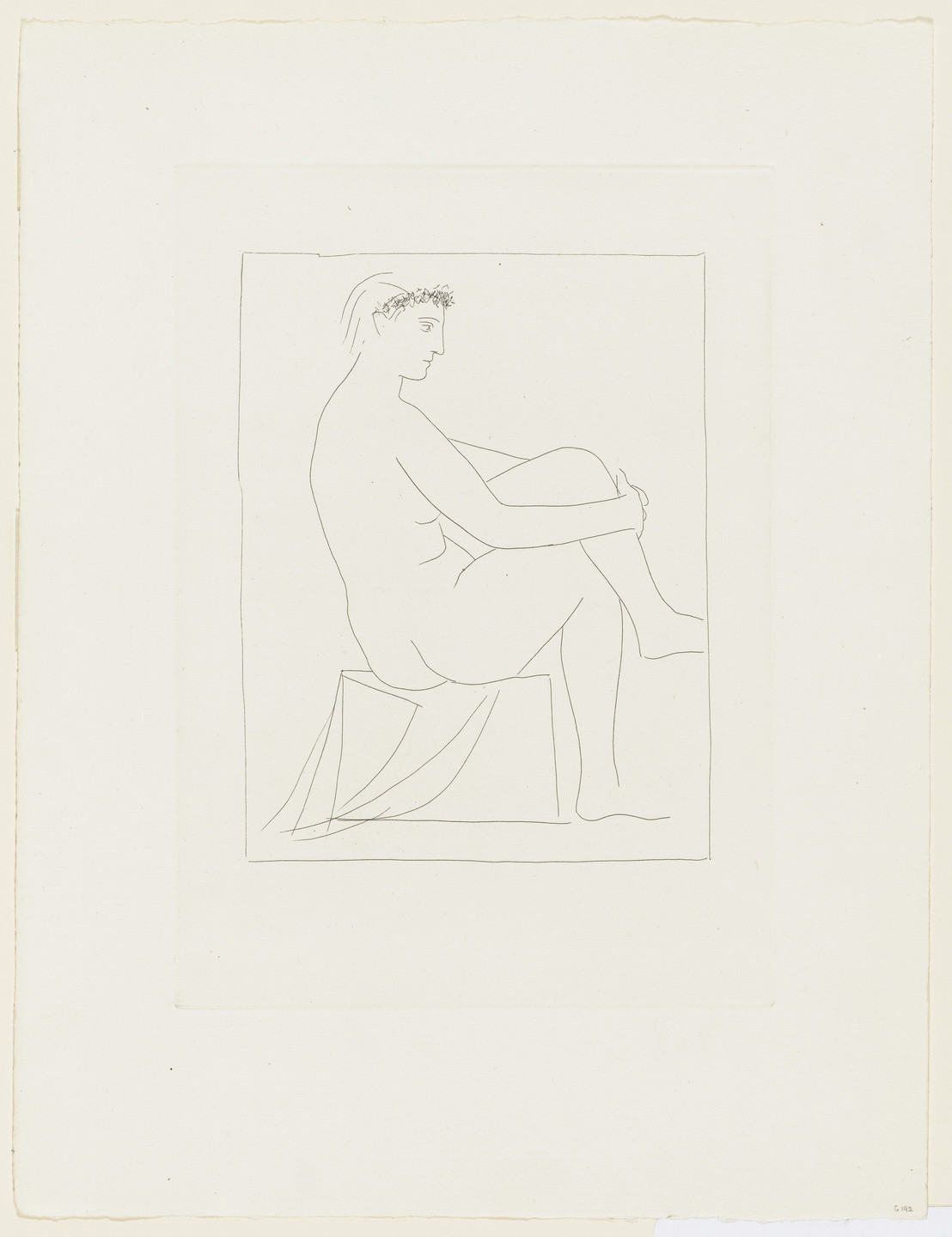 Pablo Picasso. Nude Woman with Crossed Legs Crowned, with Flowers (Femme nue couronnée de fleurs, aux jambes croisées) from the Vollard Suite (Suite Vollard). 1930, published 1939