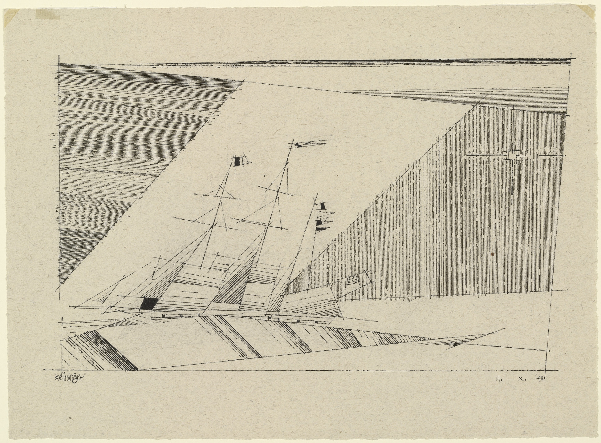 Lyonel Feininger. Three-Masted Frigate. 1942