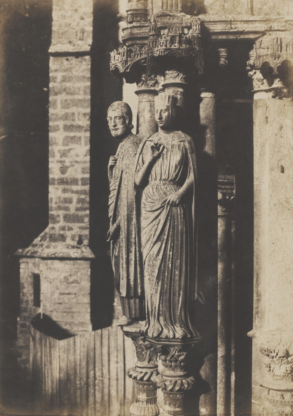 Charles Marville. Columnar Figures of the North Porch, Chartres Cathedral. 1853-54