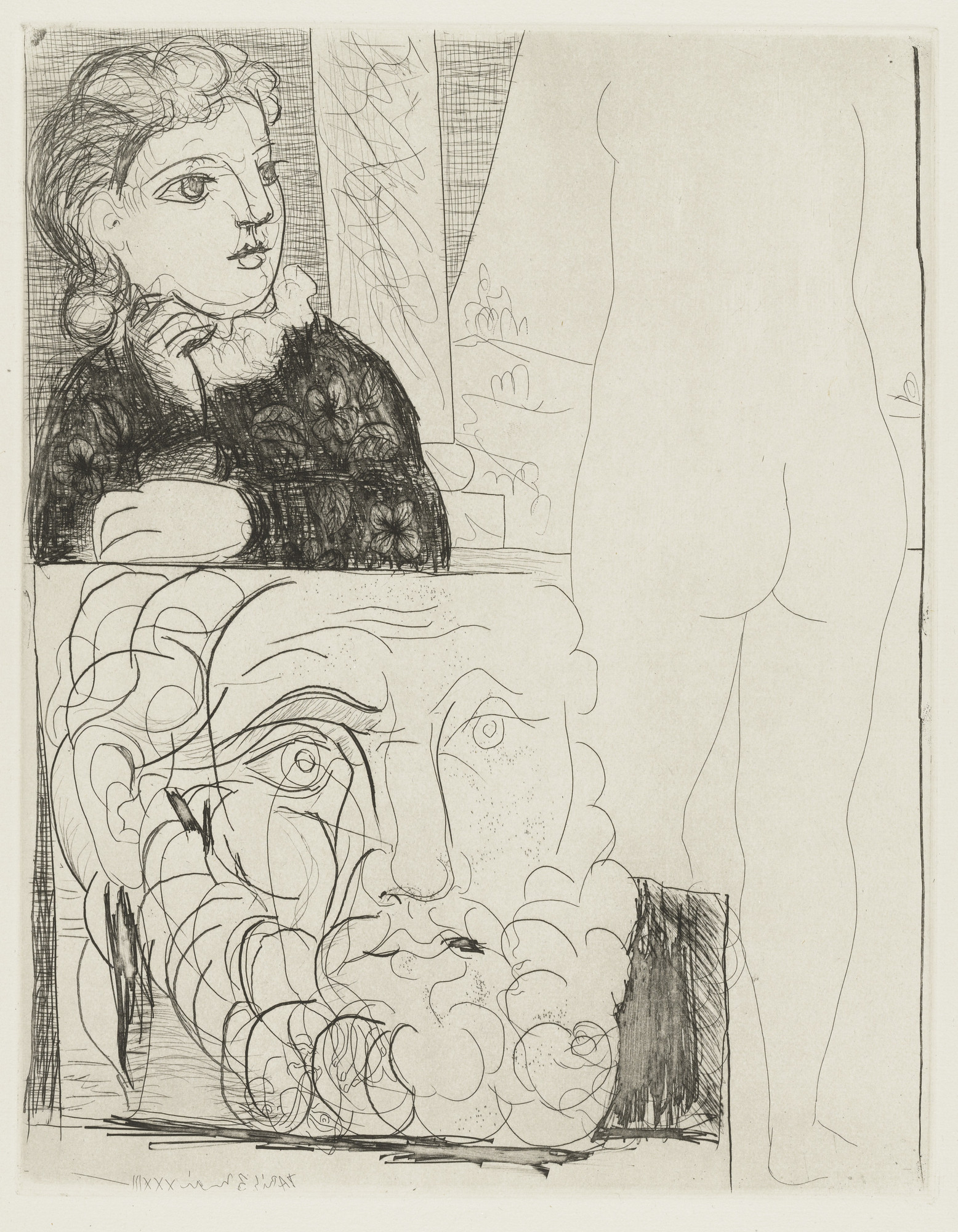 Pablo Picasso. The Maid in the Sculpture Studio (La Bonne dans l'atelier de sculpture) from the Vollard Suite (Suite Vollard). 1933, published 1939