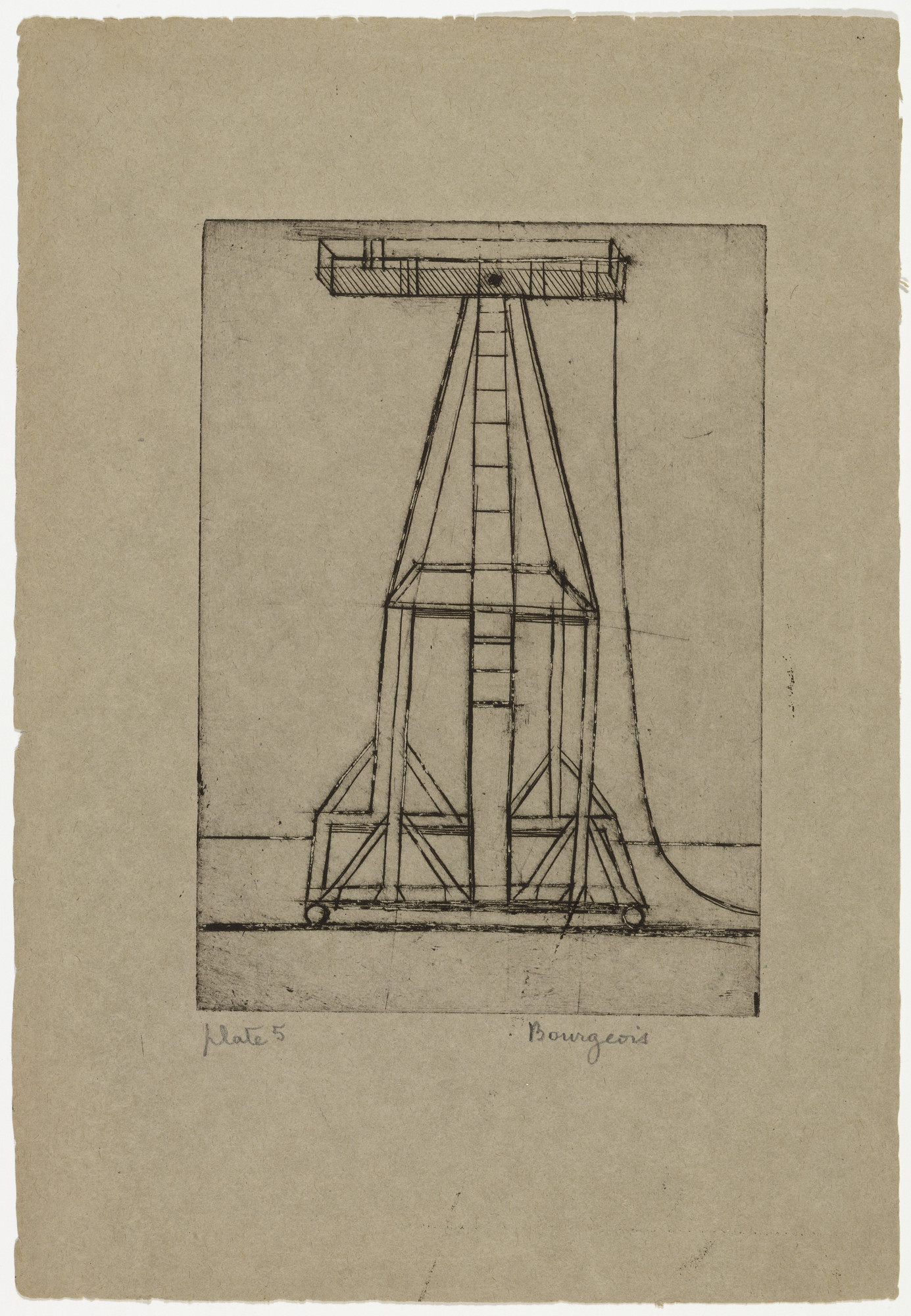 Louise Bourgeois. Plate 5 of 9, from the illustrated book, He Disappeared into Complete Silence. 1946-1947