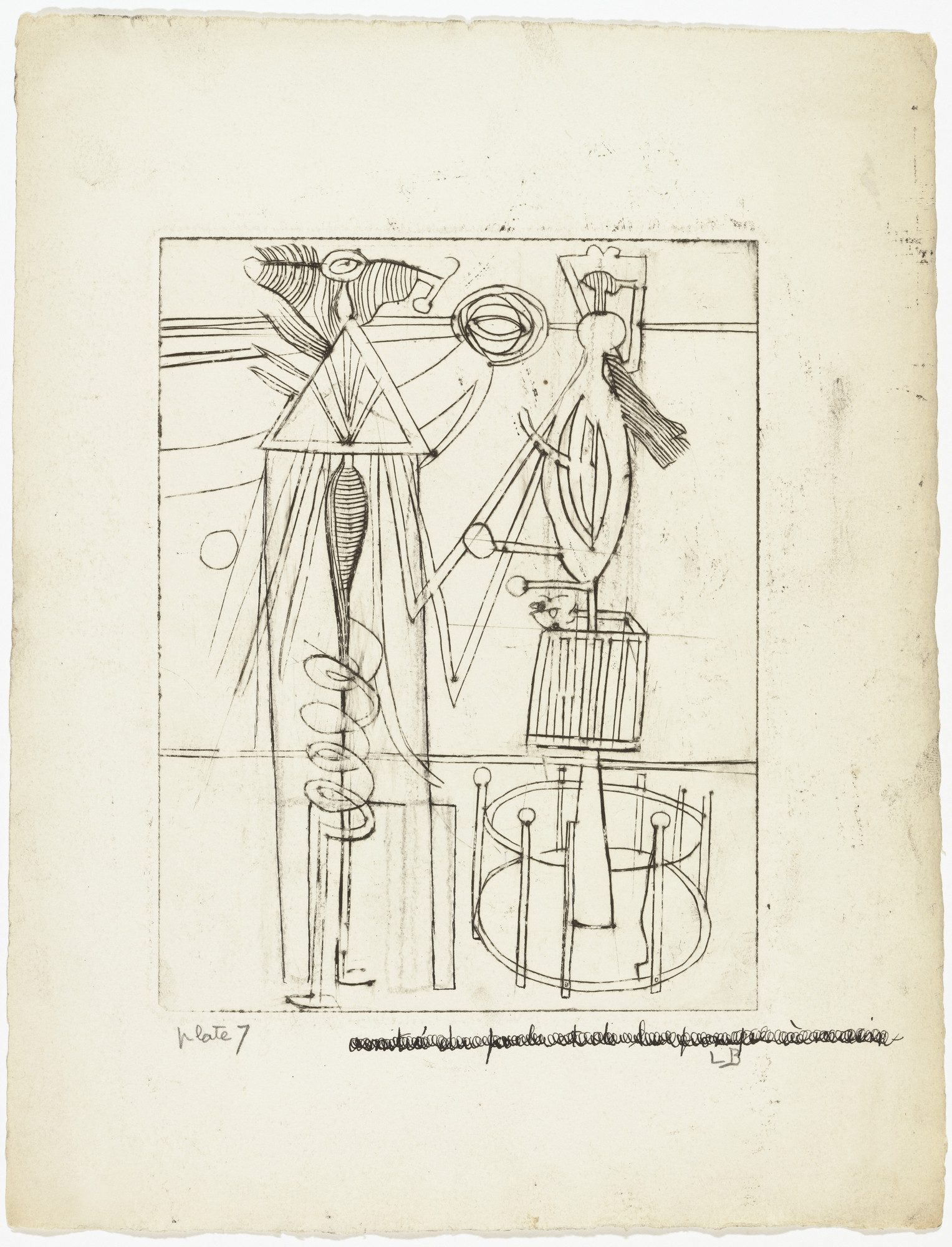 Louise Bourgeois. Plate 7 of 9, from the illustrated book, He Disappeared into Complete Silence. 1946-1947