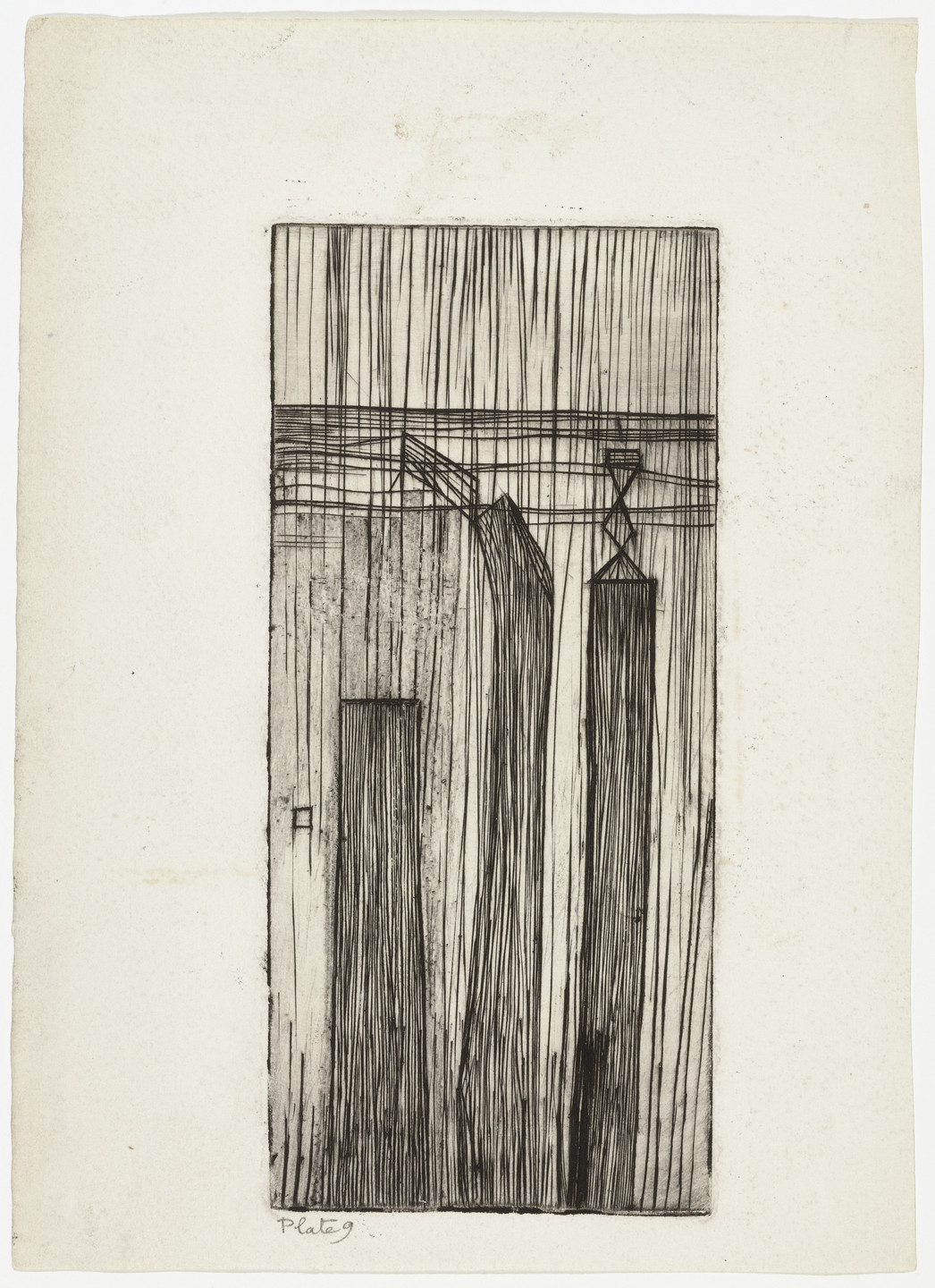 Louise Bourgeois. Plate 9 of 9, from the illustrated book, He Disappeared into Complete Silence. 1946-1947