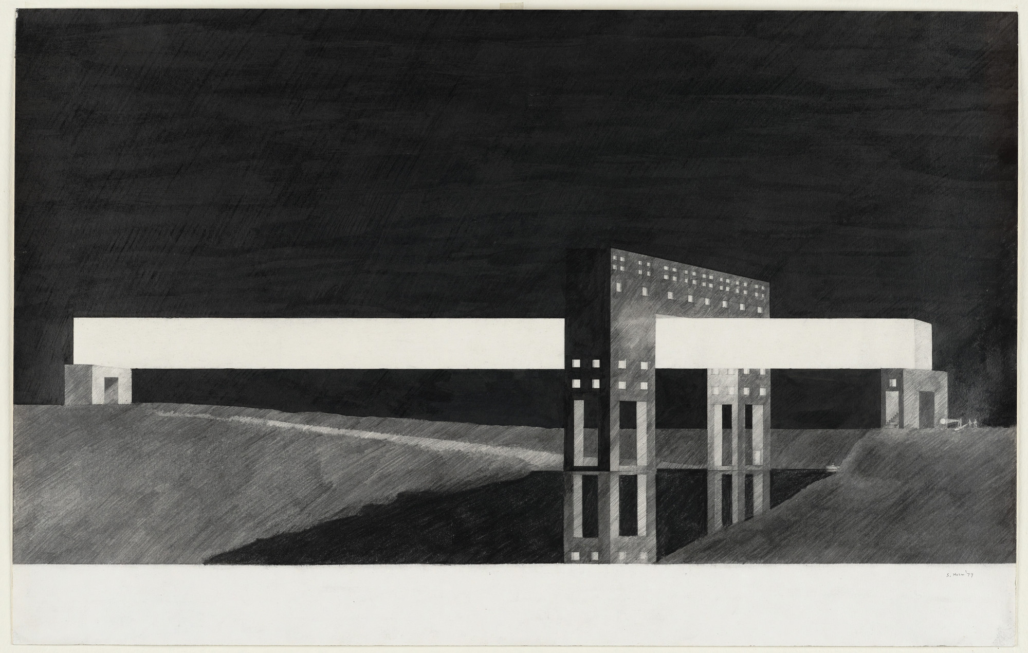 Steven Holl. Gymnasium-Bridge Project, New York, New York, Perspective. 1977