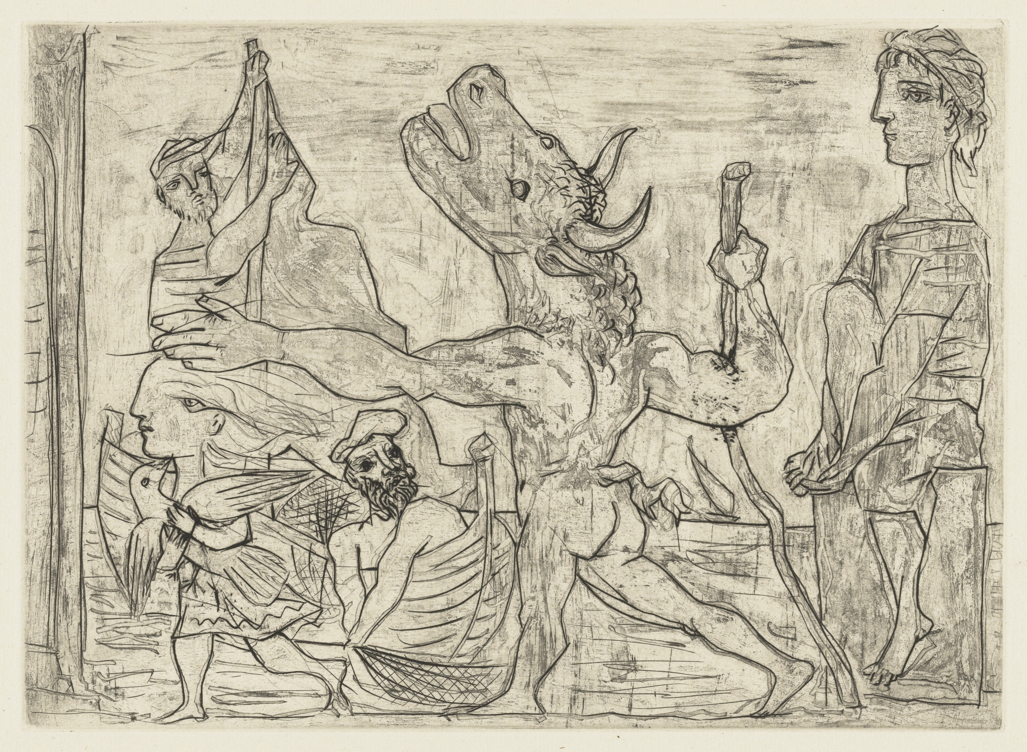 Pablo Picasso. Blind Minotaur Guided by a Little Girl with a Pigeon (Minotaure aveugle guidé par une petite fille au pigeon) from the Vollard Suite (Suite Vollard). 1934, published 1939