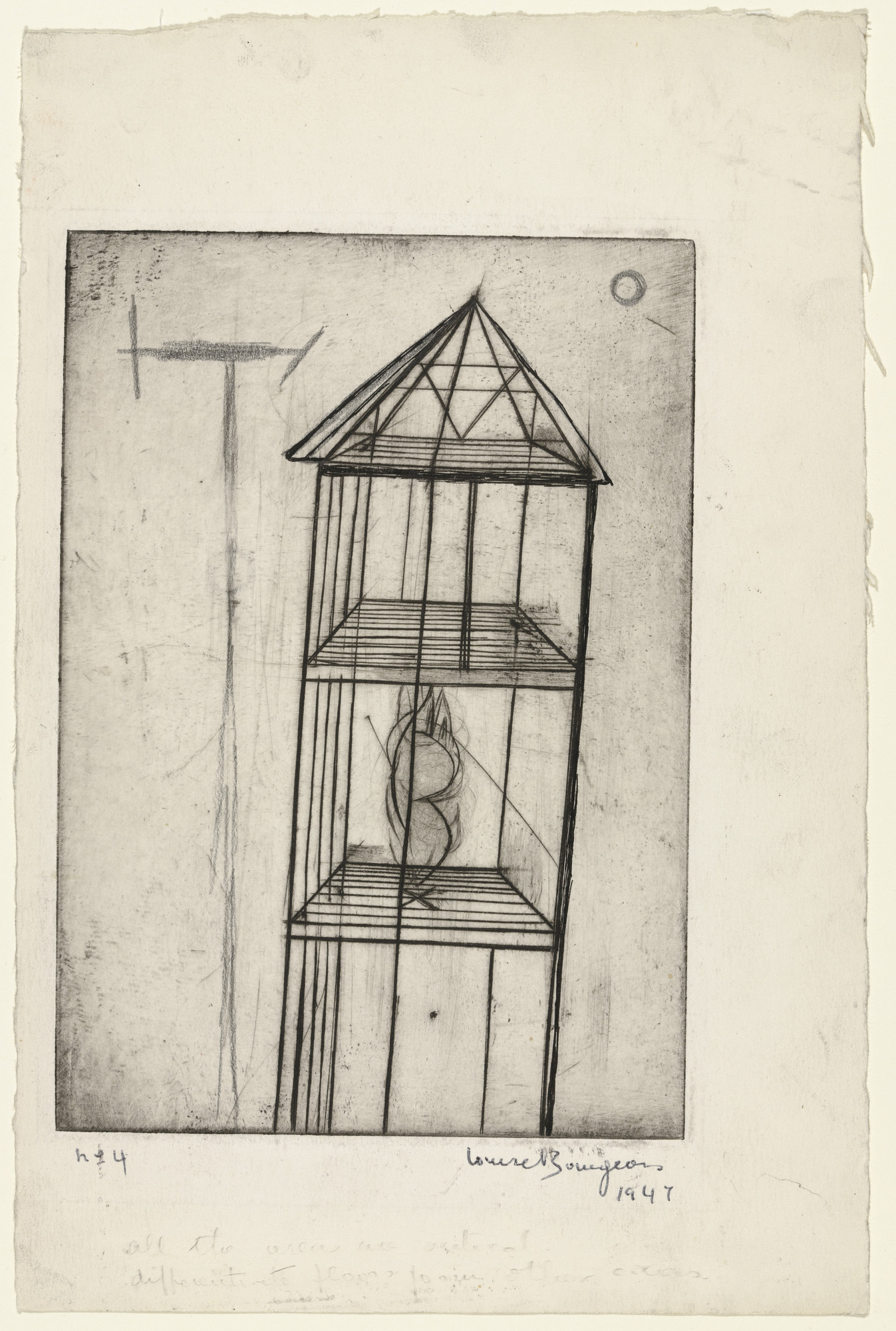 Louise Bourgeois. Plate 4 of 9, from the illustrated book, He Disappeared into Complete Silence. 1947