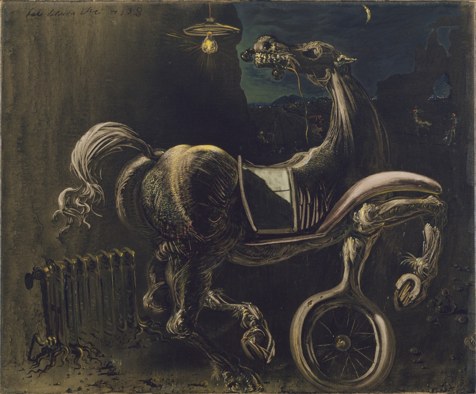 Salvador Dalí. Debris of an Automobile Giving Birth to a Blind Horse Biting a Telephone. 1938