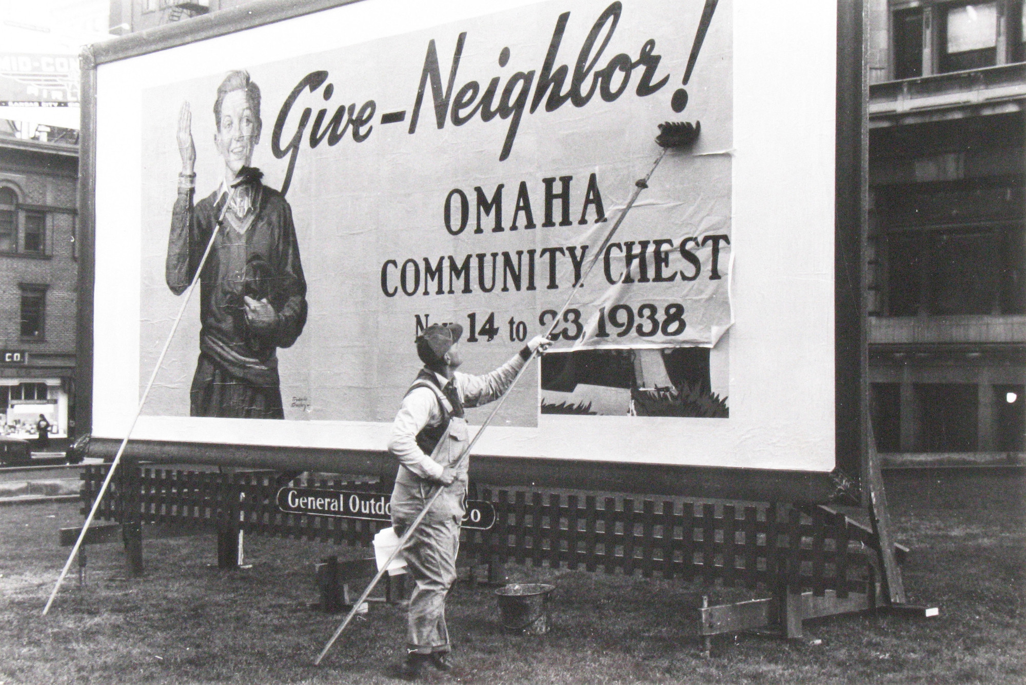 John Vachon. Billboard on the Courthouse Lawn, Omaha, Nebraska. 1938