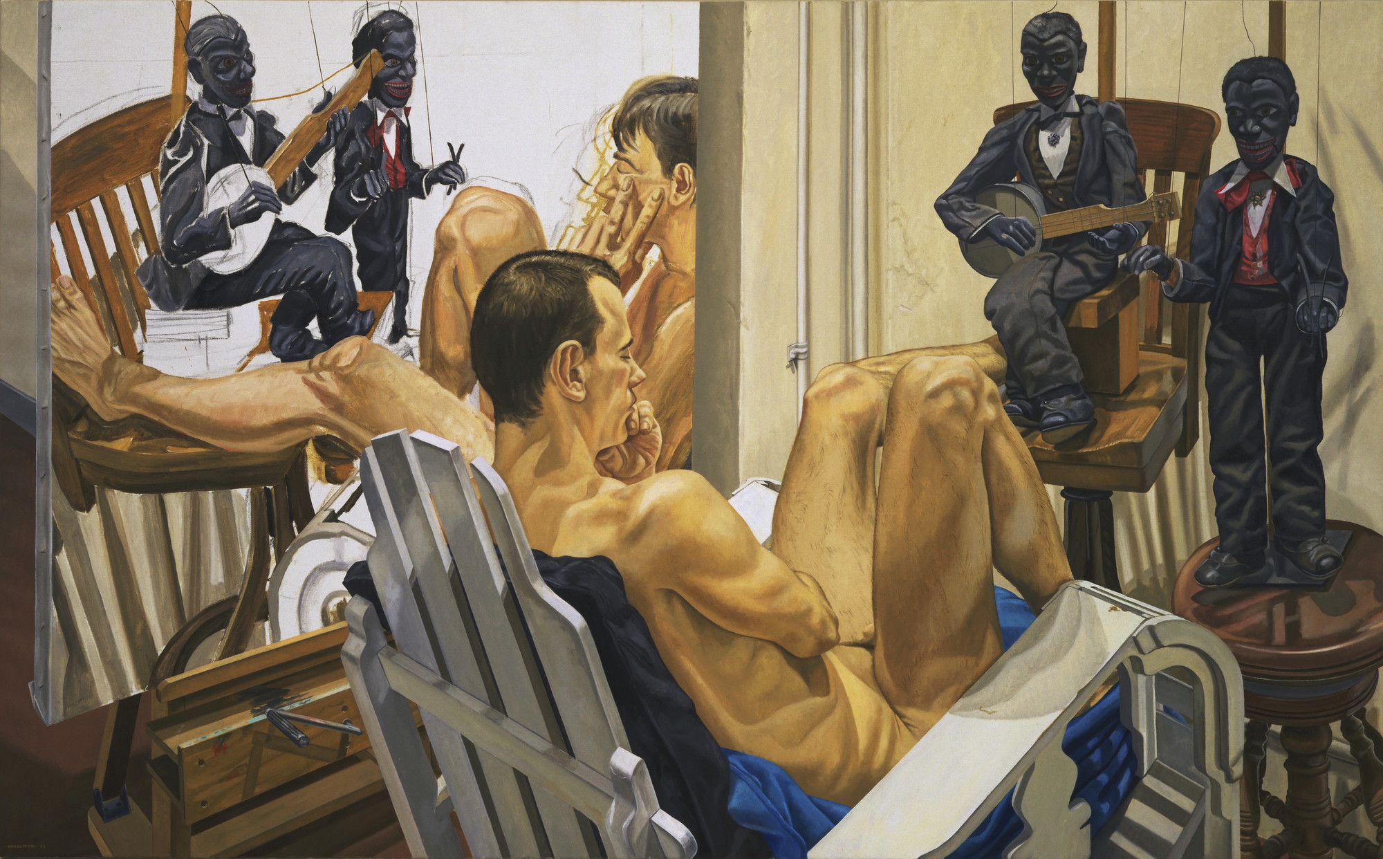 Philip Pearlstein. Male Model, Minstrel Marionettes, and Unfinished Painting. 1994