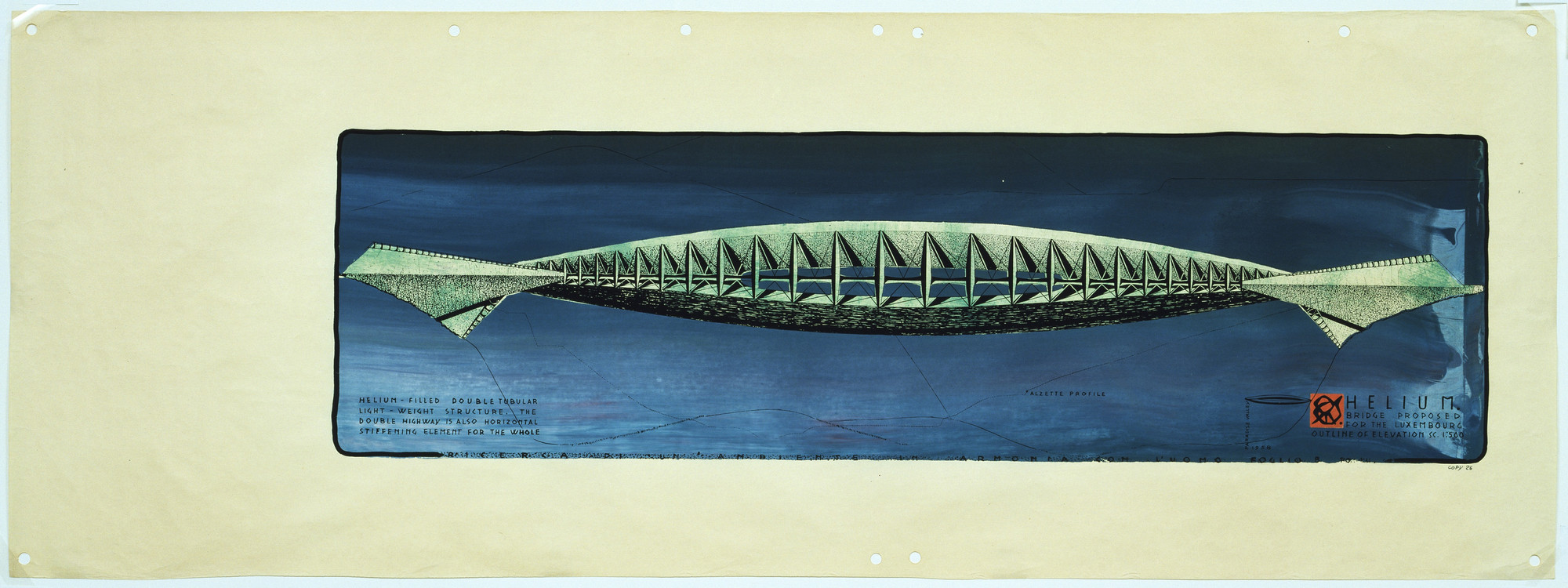 Paolo Soleri. Helium Bridge Project. 1958
