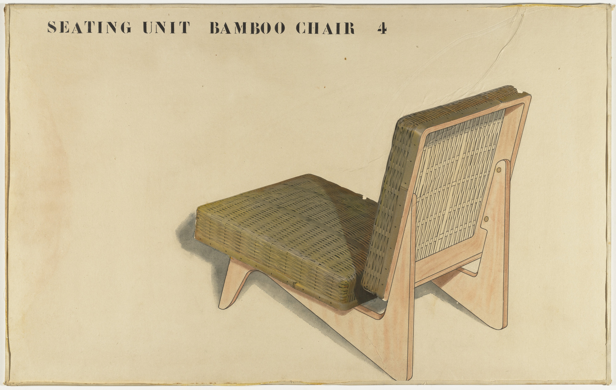 Junzo Sakakura. Entry Panel for MoMA International Competition for Low-Cost Furniture Design (Bamboo Chair). c.1950