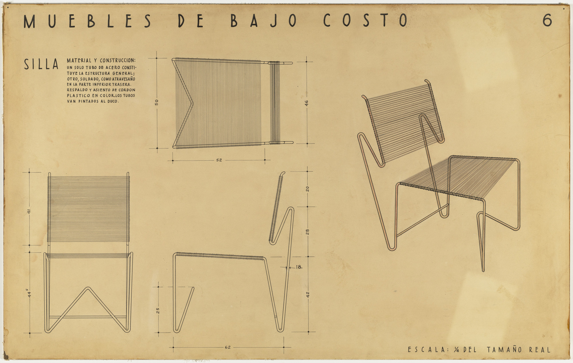 Clara Porset, Xavier Guerrero. Entry Panel for MoMA International Competition for Low-Cost Furniture Design. c.1950