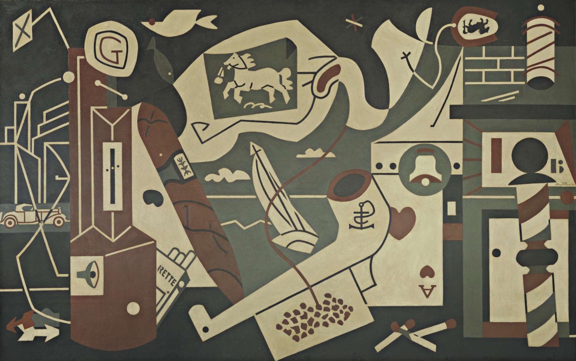 Stuart Davis. Mural (Radio City Men's Lounge Mural: Men without Women). 1932