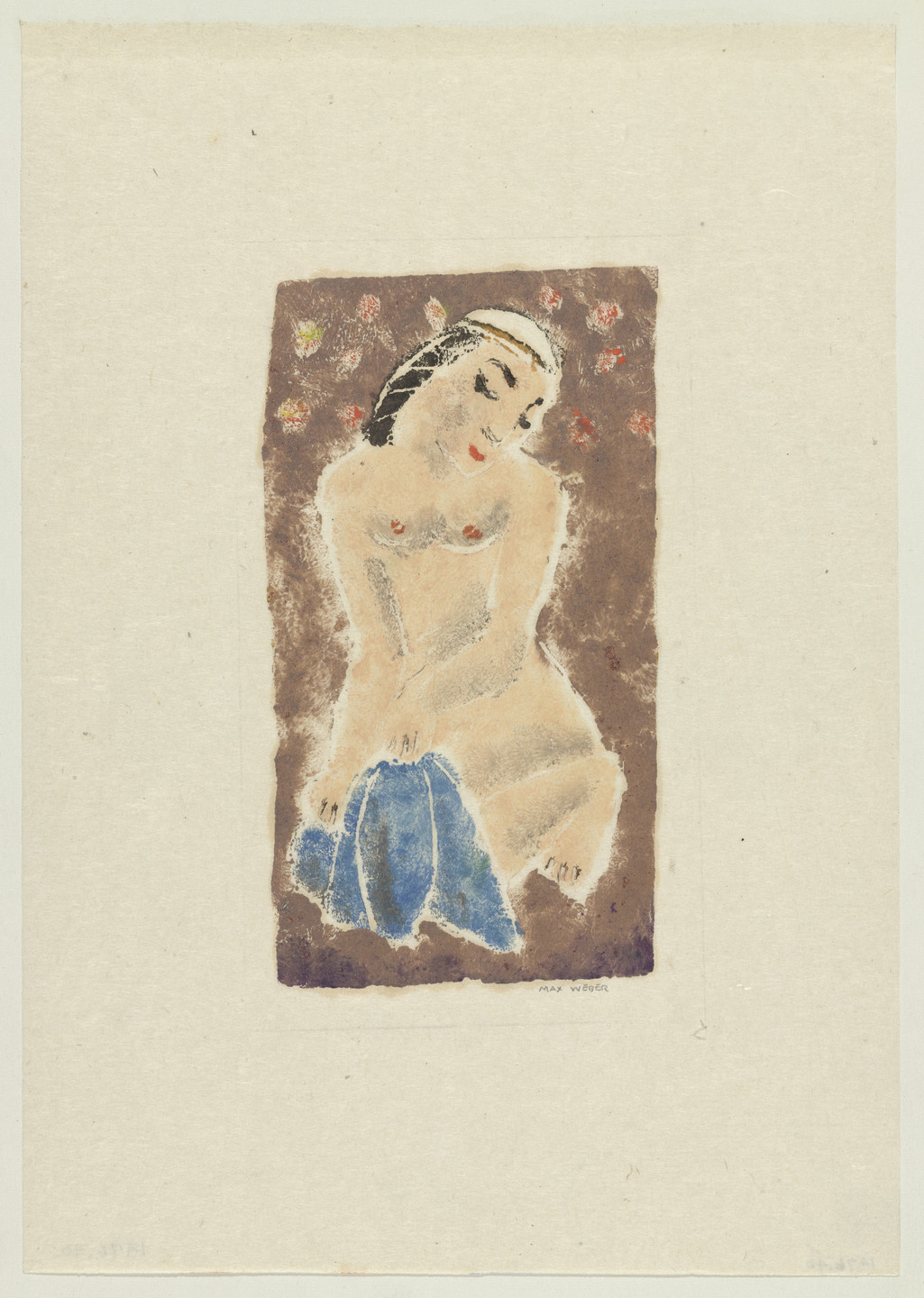 Max Weber. Crouching Nude Figure. 1910