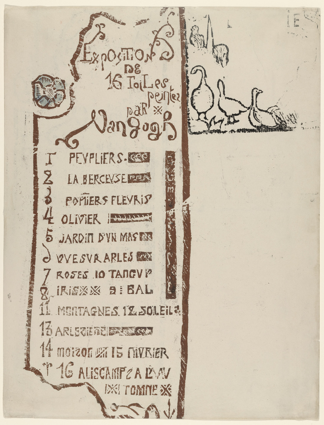 Émile Bernard. Catalogue for the Van Gogh Exhibition at Le Barc de Boutteville and Lottery Ticket. ca. 1888-1891