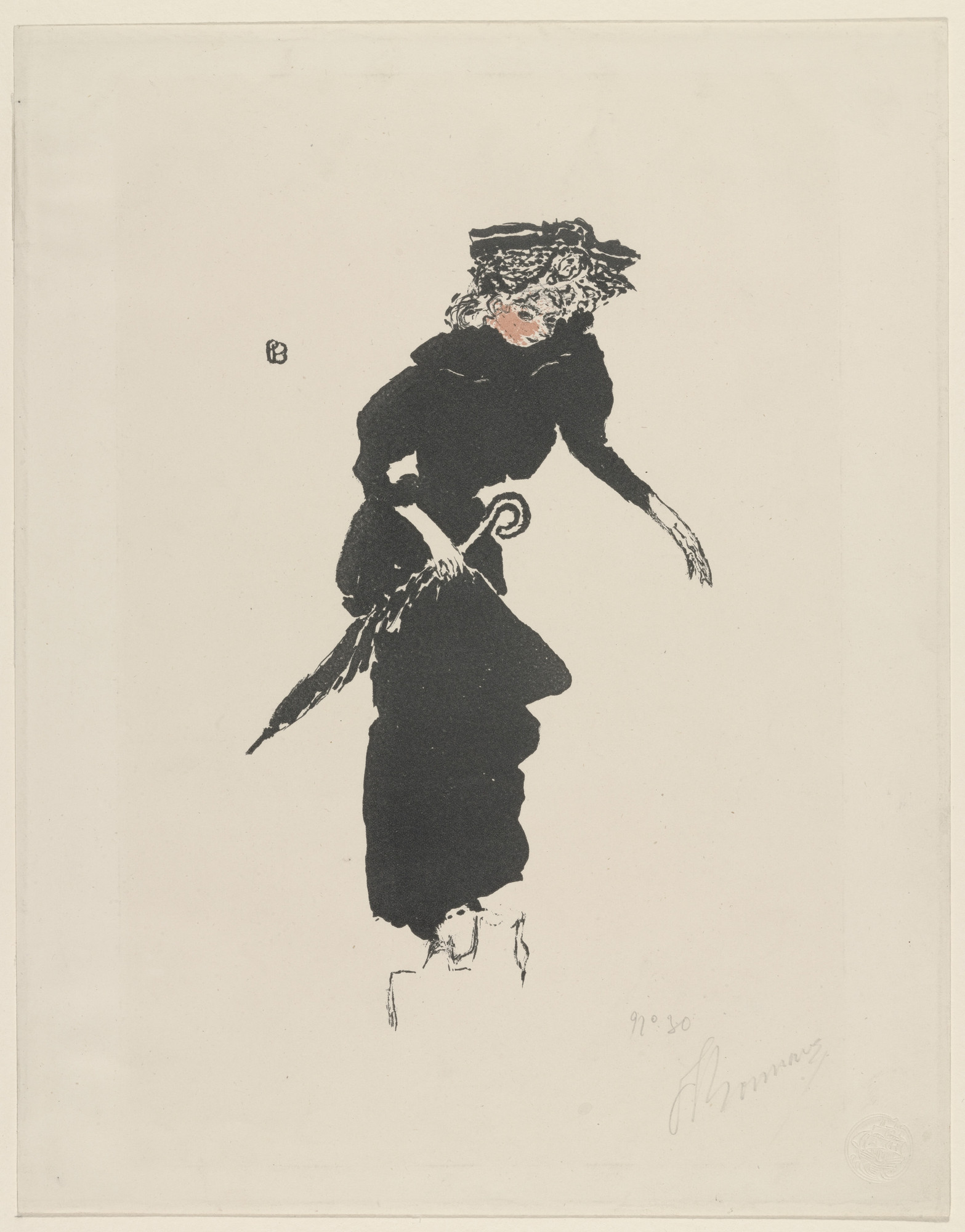 Pierre Bonnard. Woman with Umbrella (Femme au parapluie) from the portfolio The Album of the White Review (L'Album de la Revue Blanche). 1895