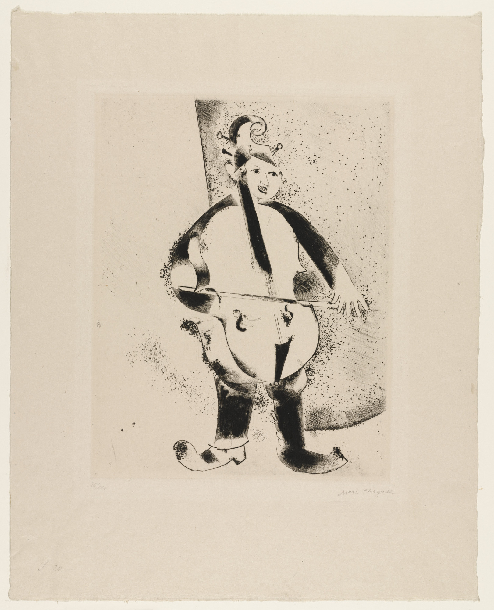 Marc Chagall. The Musician (Der Musiker), supplementary print from My Life (Mein Leben). (1922)