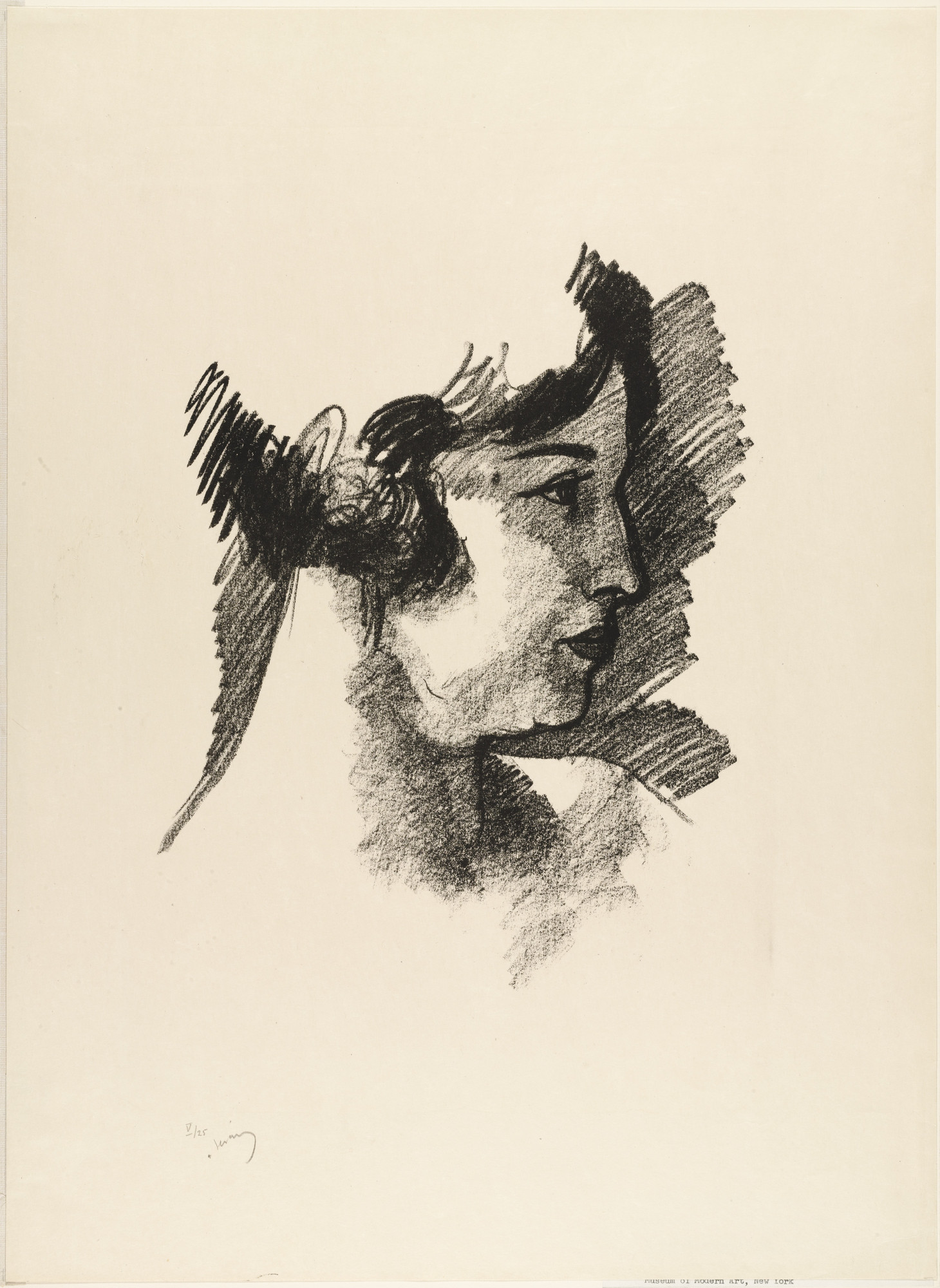 André Derain. Head of a Woman in Profile from the portfolio Metamorphoses. (1927)