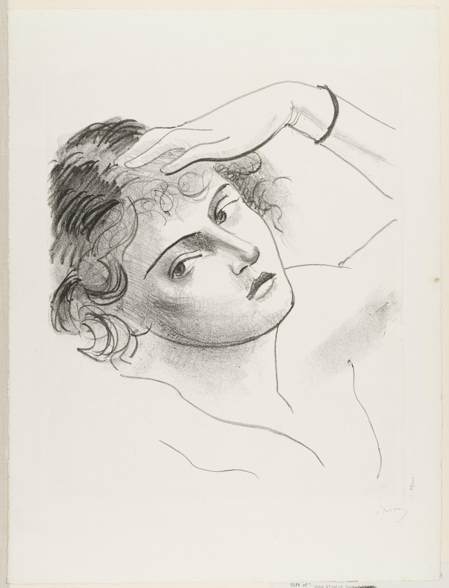 André Derain. Woman Resting Her Head on Her Hand from the portfolio Metamorphoses. (c. 1927)