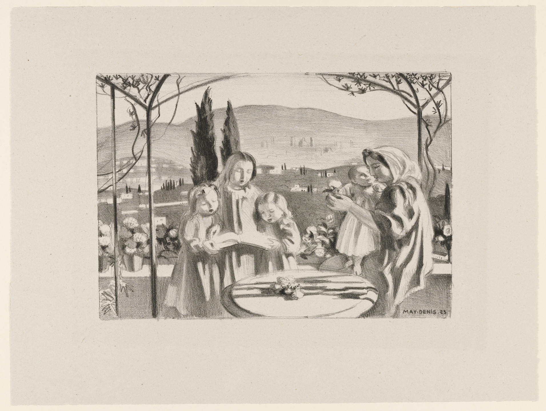 Maurice Denis. La Terrasse (The Terrace) from Essai dur l'histoire de la lithographie en France. Les Peintures lithographes de Manet à Matisse. Album de lithographies originales.. 1923, published c. 1924