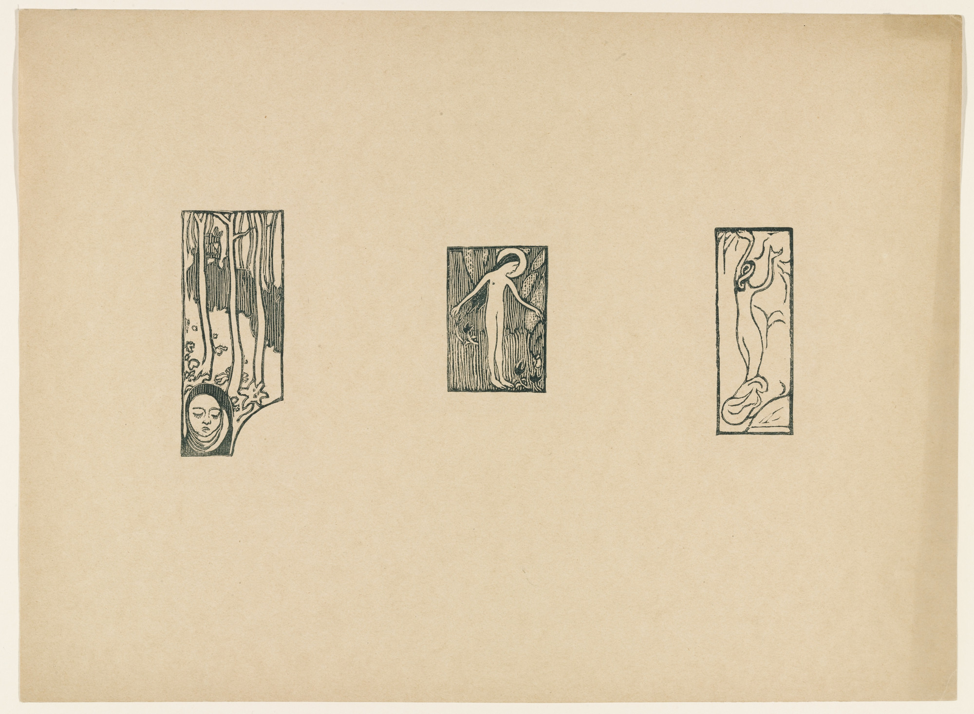 Maurice Denis. Sheet of woodcuts from L' Epreuve. (1895)