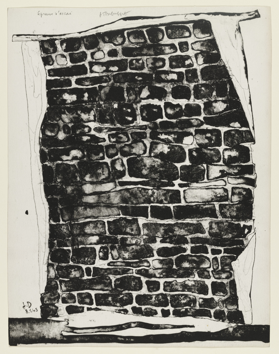 Jean Dubuffet. Section of a Sagging Wall (Pan de mur ventru) from the supplementary suite for the book Les Murs by Eugène Guillevic. 1945