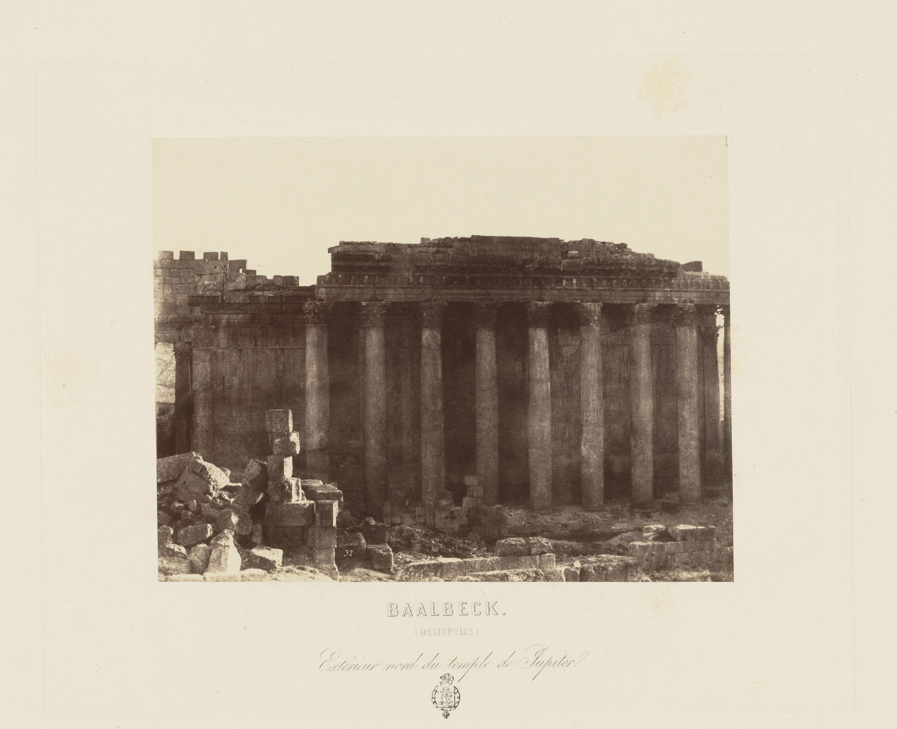 Louis De Clercq. Temple of Jupiter (Exterior Northern View), Baalbek from Voyage en Orient (Paris. 1860). 1859-60