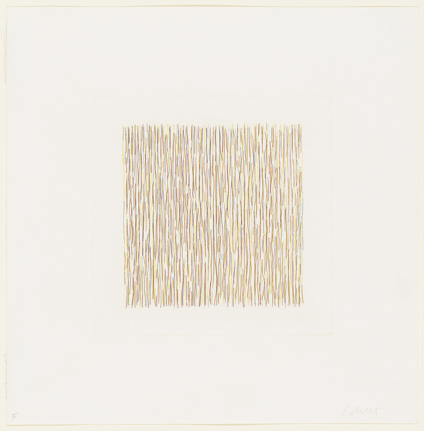 Sol LeWitt. Lines, Not Straight, Not Touching, Four Colours. 1971