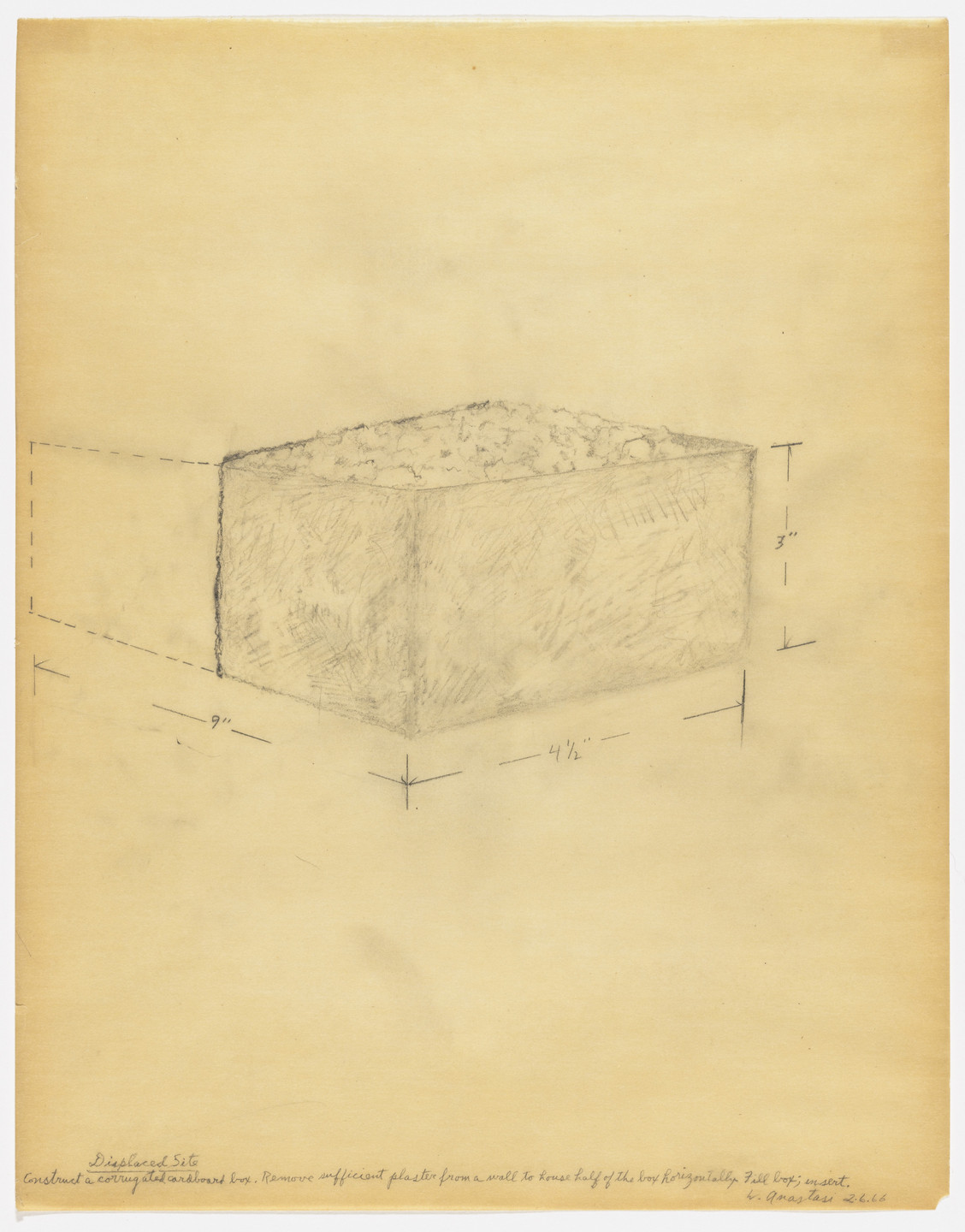 William Anastasi. Displaced Site. 1966