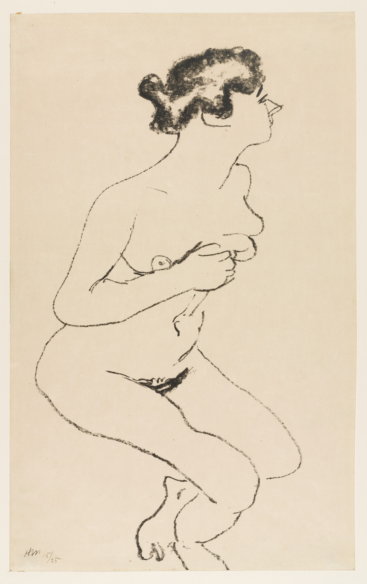Henri Matisse. Crouching Nude in Profile with Black Hair (Nu accroupi, profil à la chevelure noire). 1906