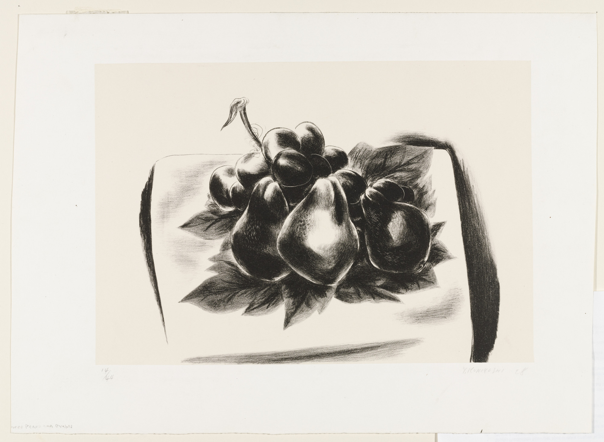 Yasuo Kuniyoshi. Pears and Grapes - (Three Pears and Grapes). 1928