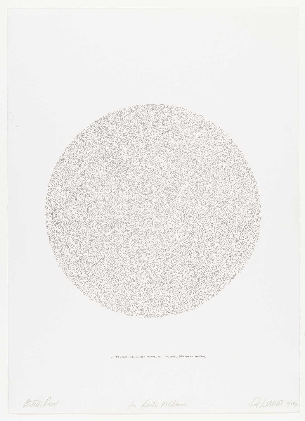 Sol LeWitt. Lines, Not Long, Not Heavy, Not Touching, Drawn at Random (Circle). 1970